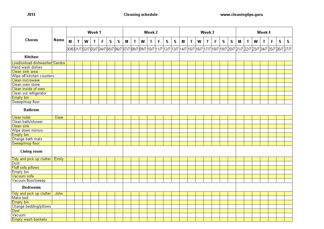 Free Excel Weekly Cleaning Schedule Templates At Template   Smorad regarding Printable Pick Up Schedule Template