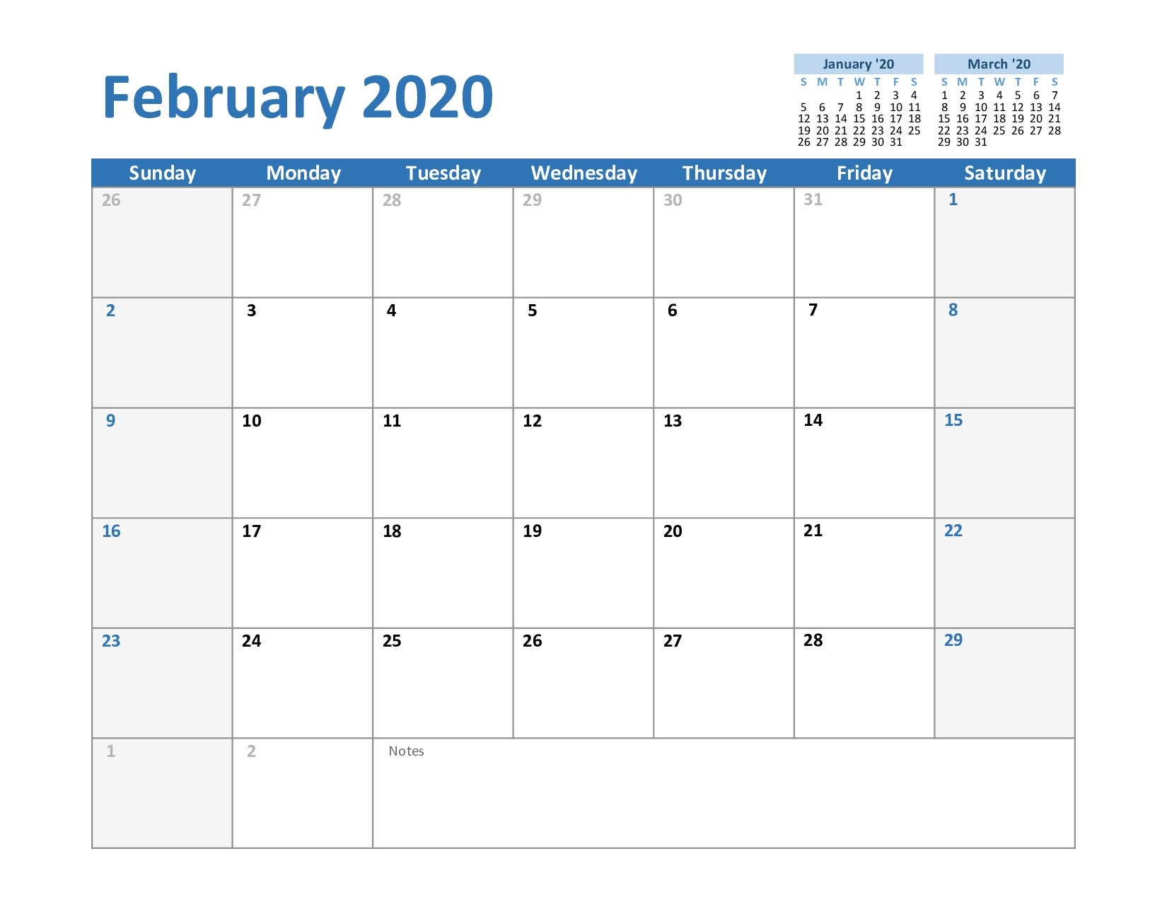 Free February & March 2020 Printable Calendar Templates Download within Free 8/2019 -5/ 2020 Printable Calendar