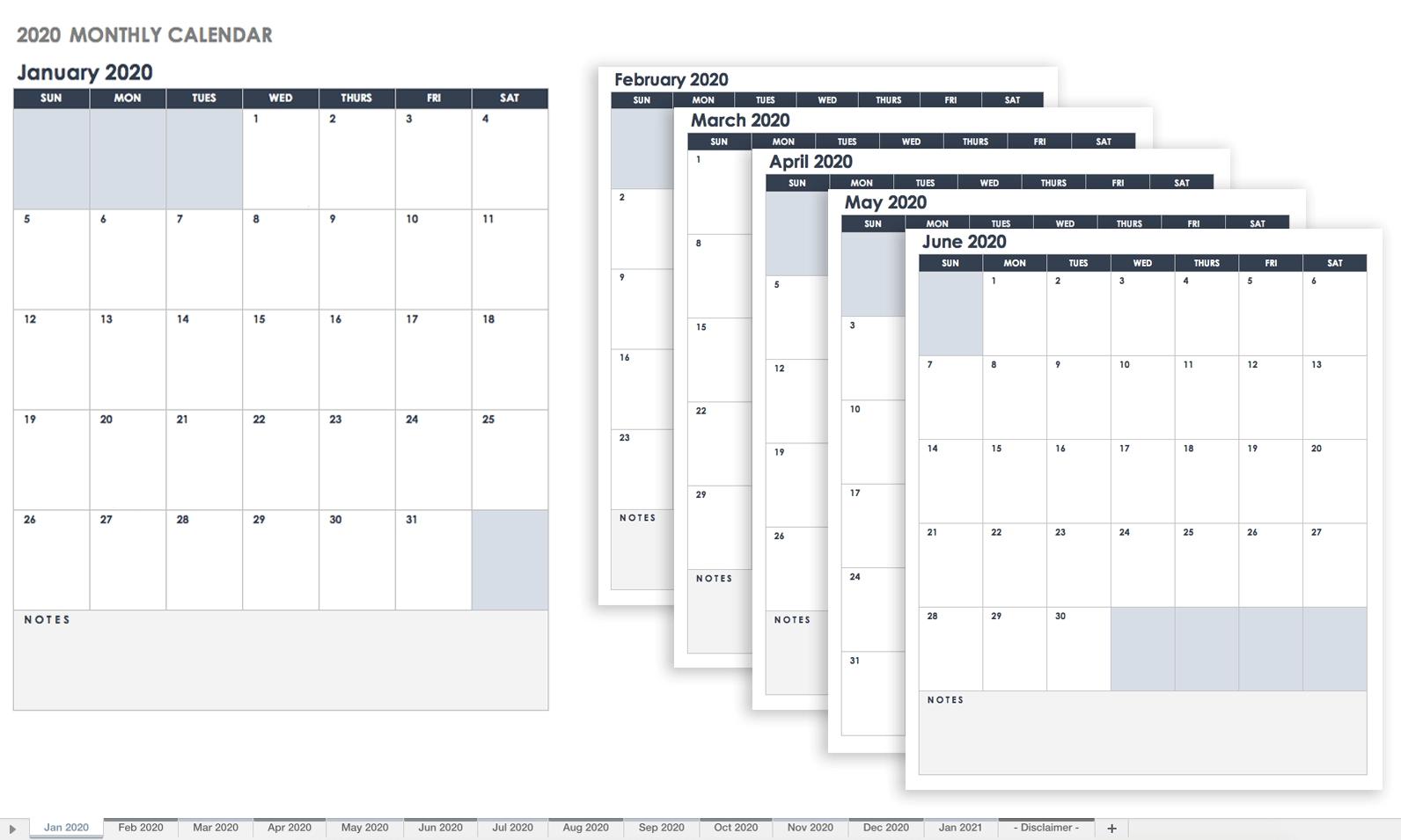 Free Google Calendar Templates | Smartsheet intended for 2020 Fill In Calendar