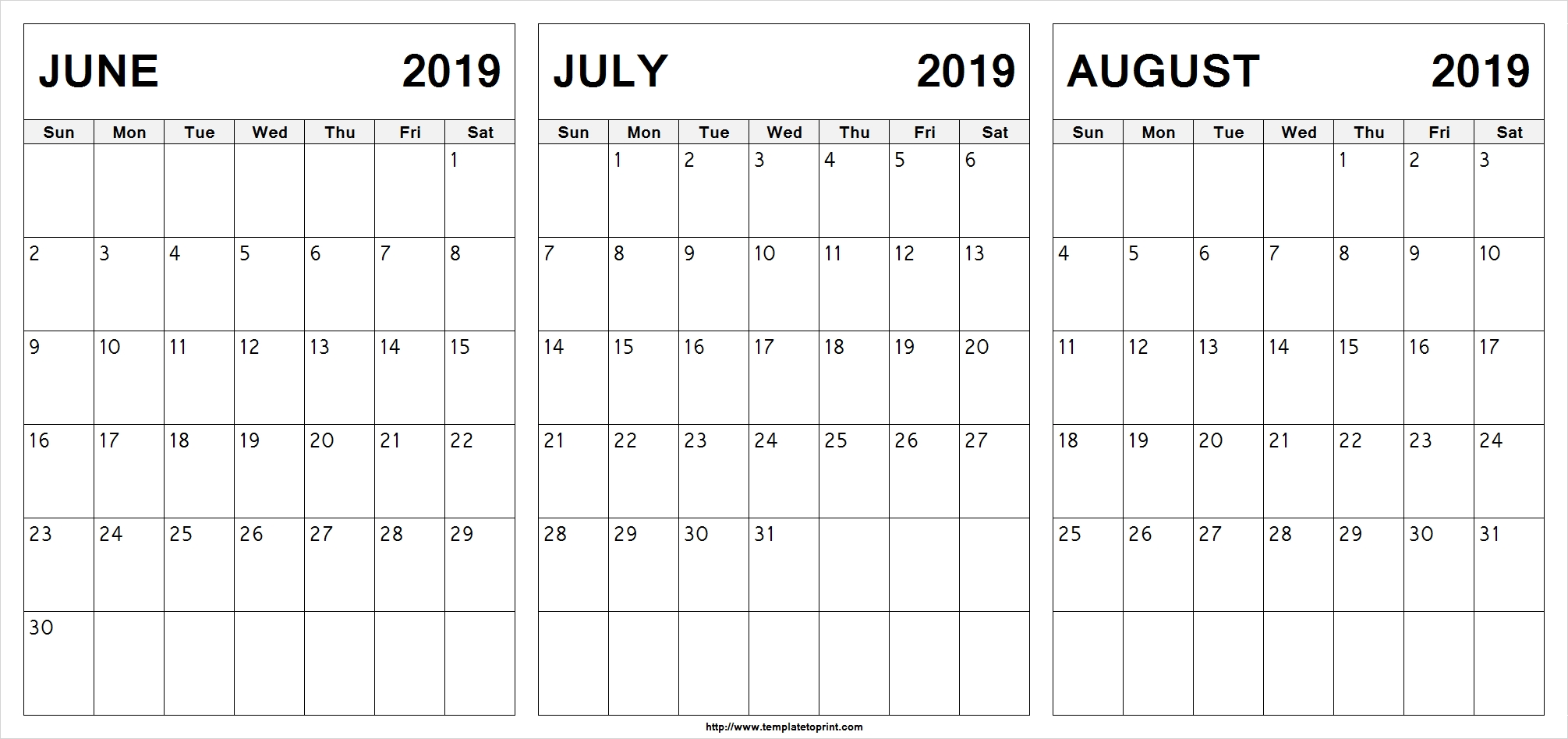 Free June July August 2019 Calendar (3 Months) Printable Template with Calendar For June July