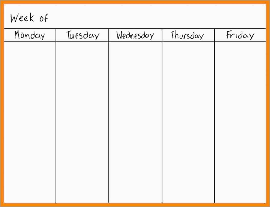 Free Monday Through Friday Calendar Template Fresh Printable Monday in Monday Through Friday Calendar Printable