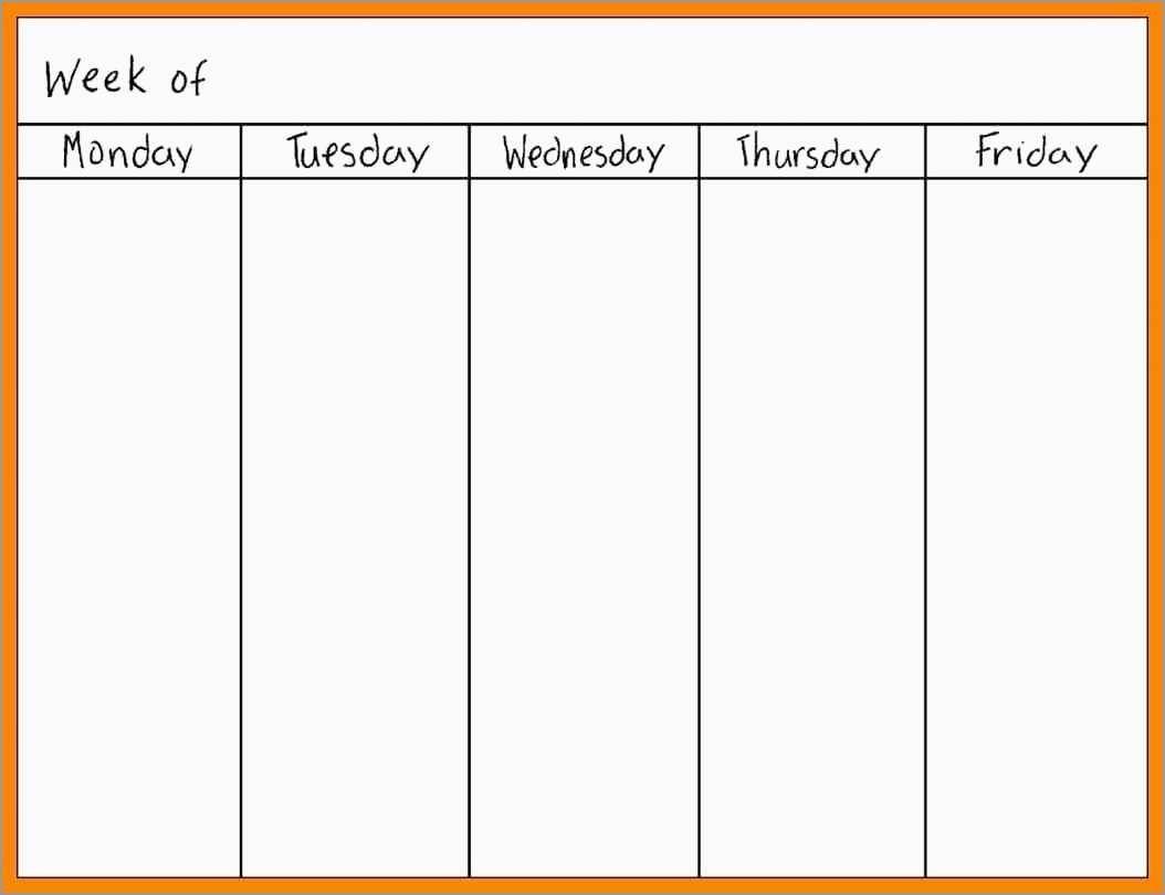 Free Monday Through Friday Calendar Template Fresh Printable Monday intended for Printable Monday Through Friday Calendar