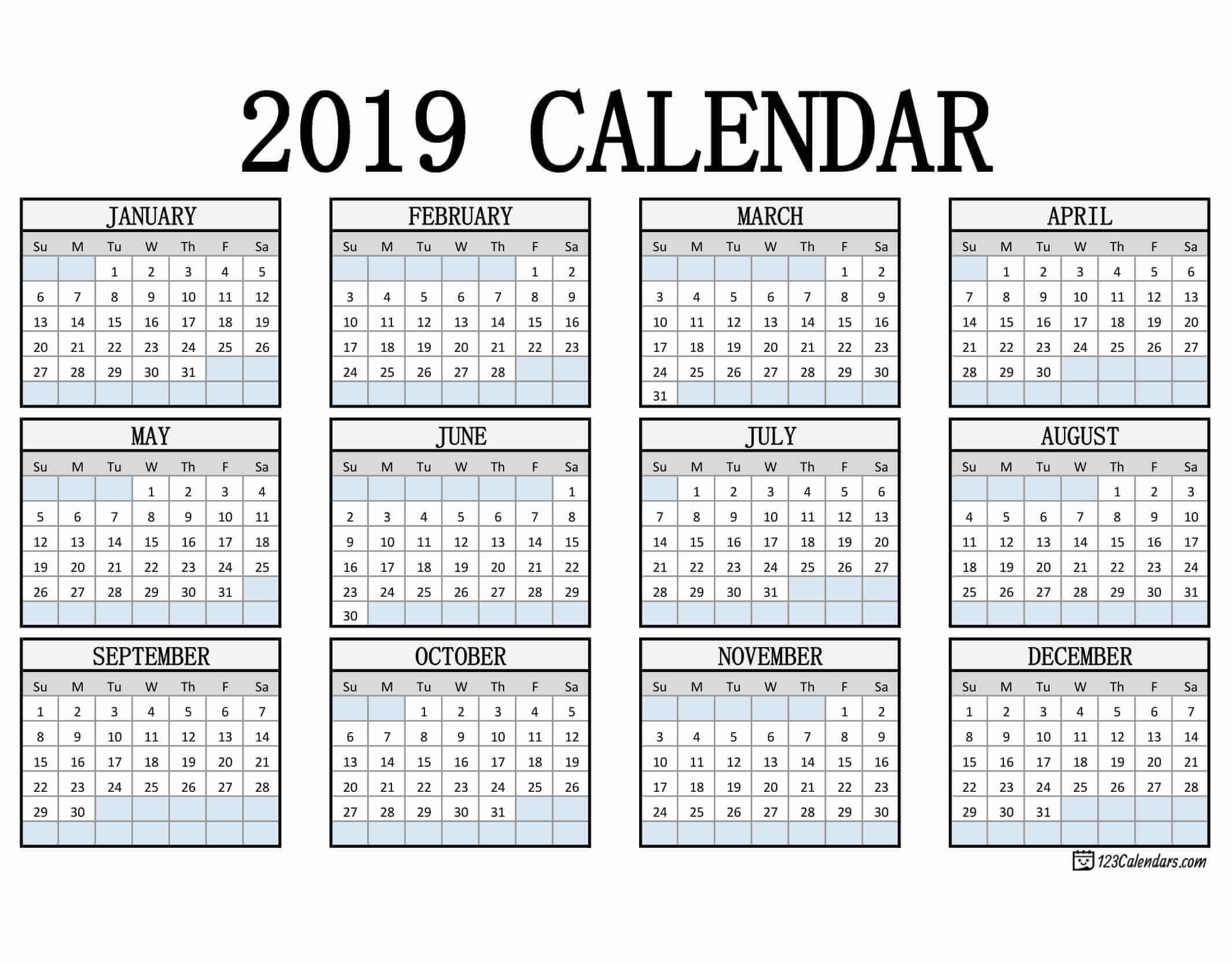 Free Printable 2019 Calendar | 123Calendars pertaining to Free Printable Pocket Size Calendars