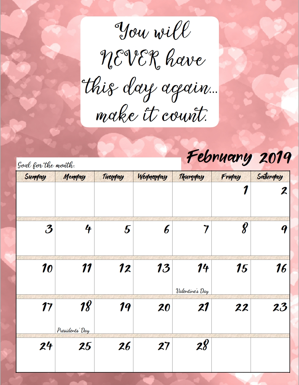 Free Printable 2019 Monthly Motivational Calendars with regard to Free Printable Calendar 2020 Motivational