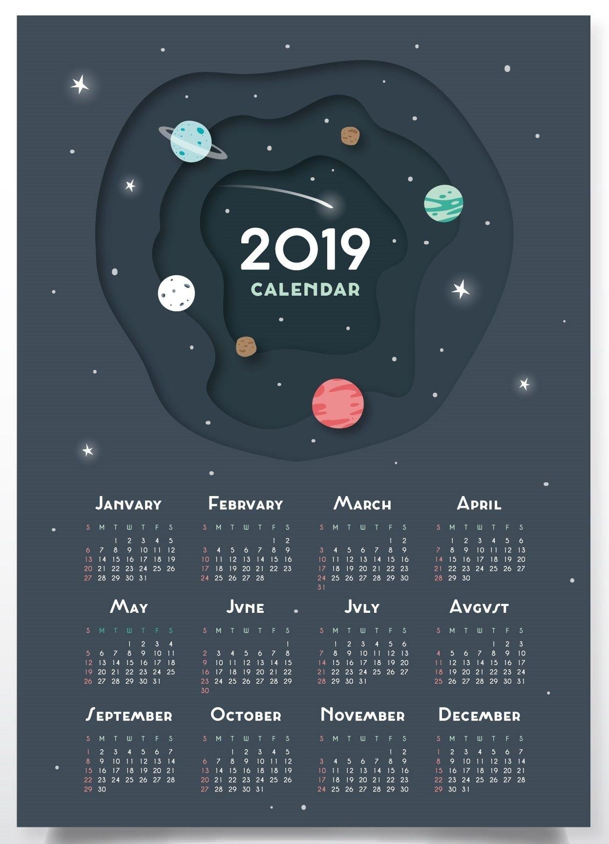 Free Printable 2019 Wall Desk Calendars Designs | Monthly Calendar throughout Printable Neon 12 Month Blank Calendar