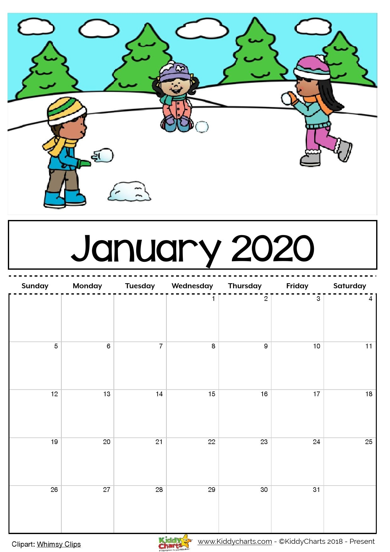 Free Printable 2020 Calendar For Kids, Including An Editable Version inside Printable Coloring Calendar 2019-2020