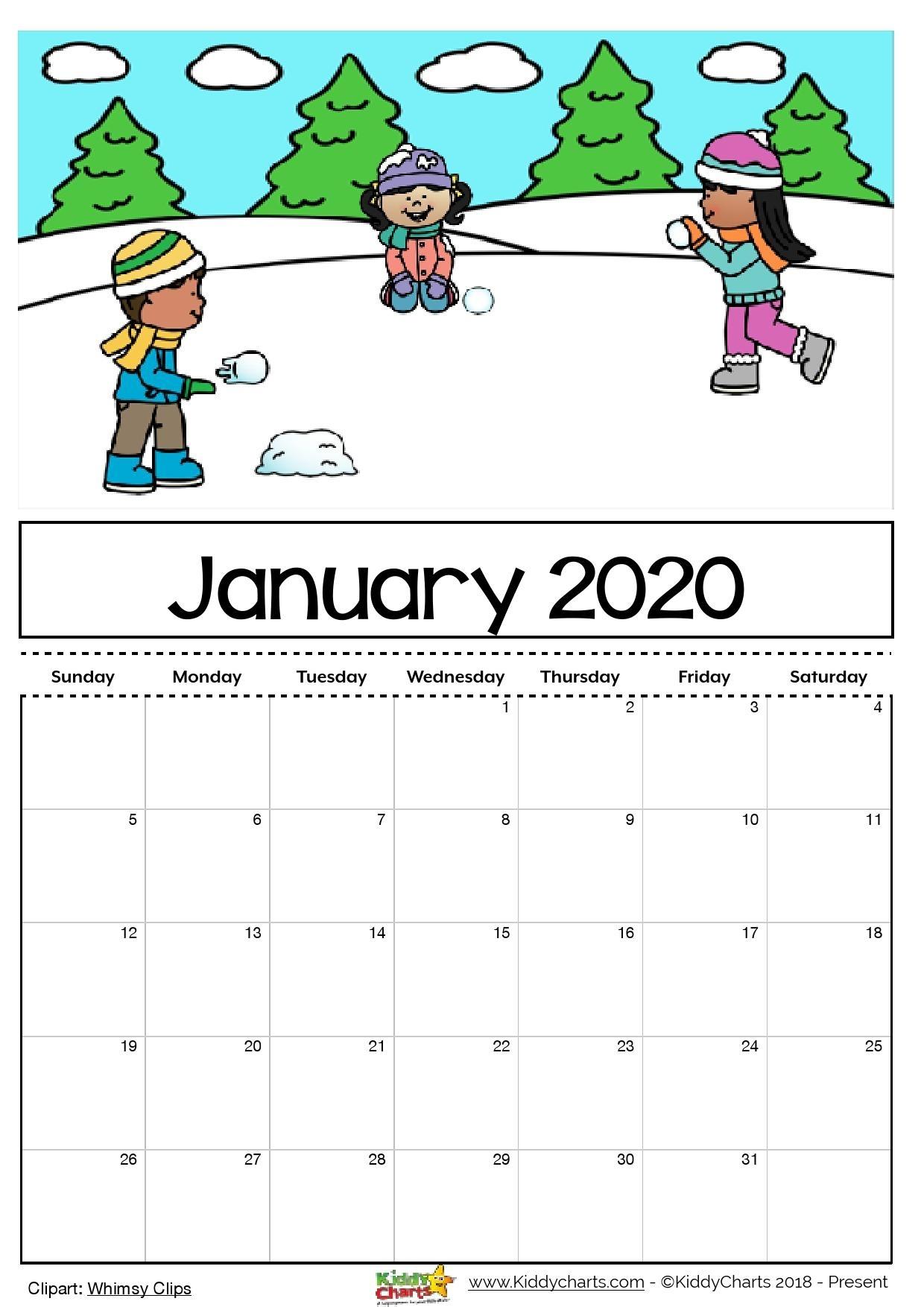 Free Printable 2020 Calendar For Kids, Including An Editable Version regarding Printable Coloring Calendar 2020