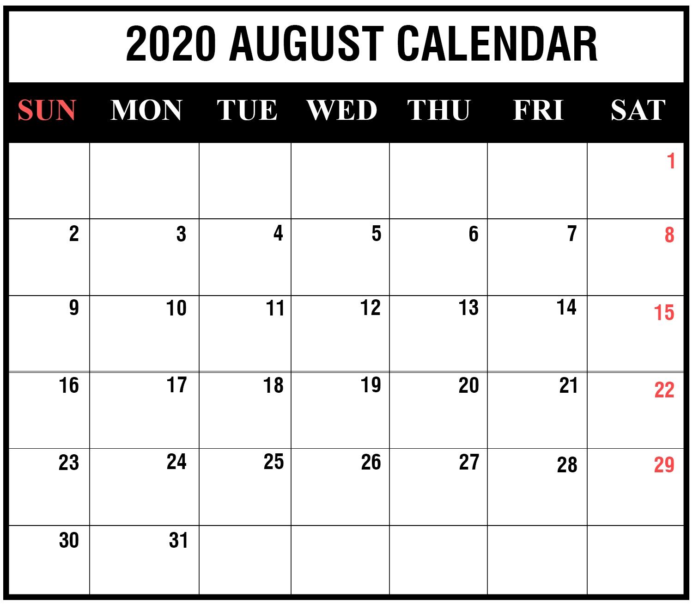 Free Printable August 2020 Calendar Templates [Pdf,word,excel for Free Printable 2020 Calendar To I Can Edit