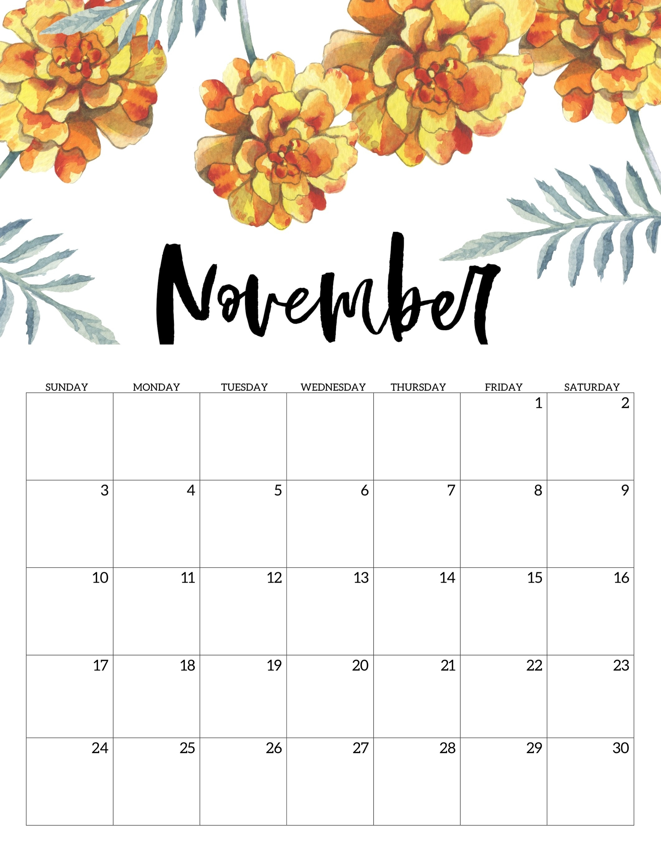 Free Printable Calendar 2019 - Floral - Paper Trail Design for 2019 2020 Girly Calendar Printable