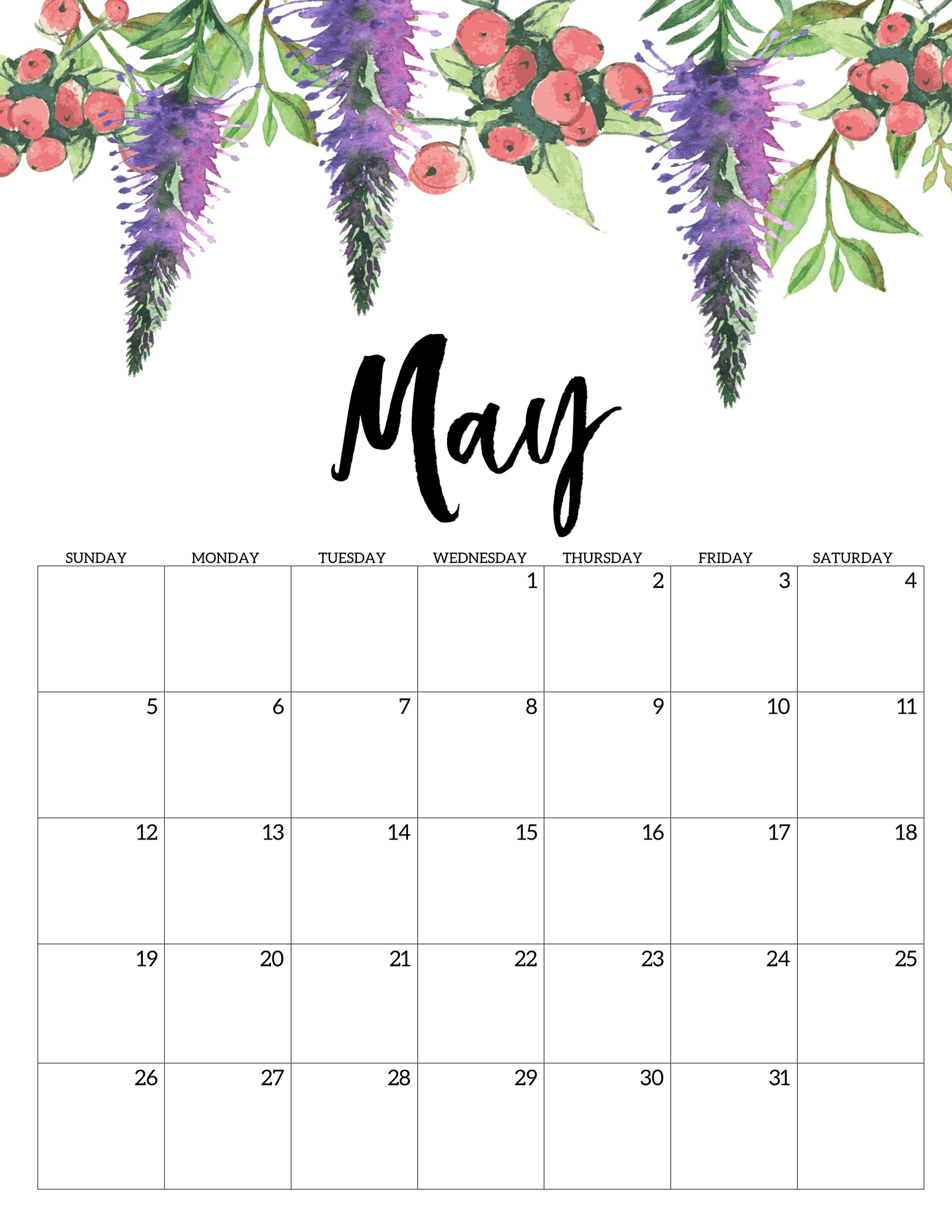 Free Printable Calendar 2019 - Floral - Paper Trail Design throughout 2019 2020 Girly Calendar Printable