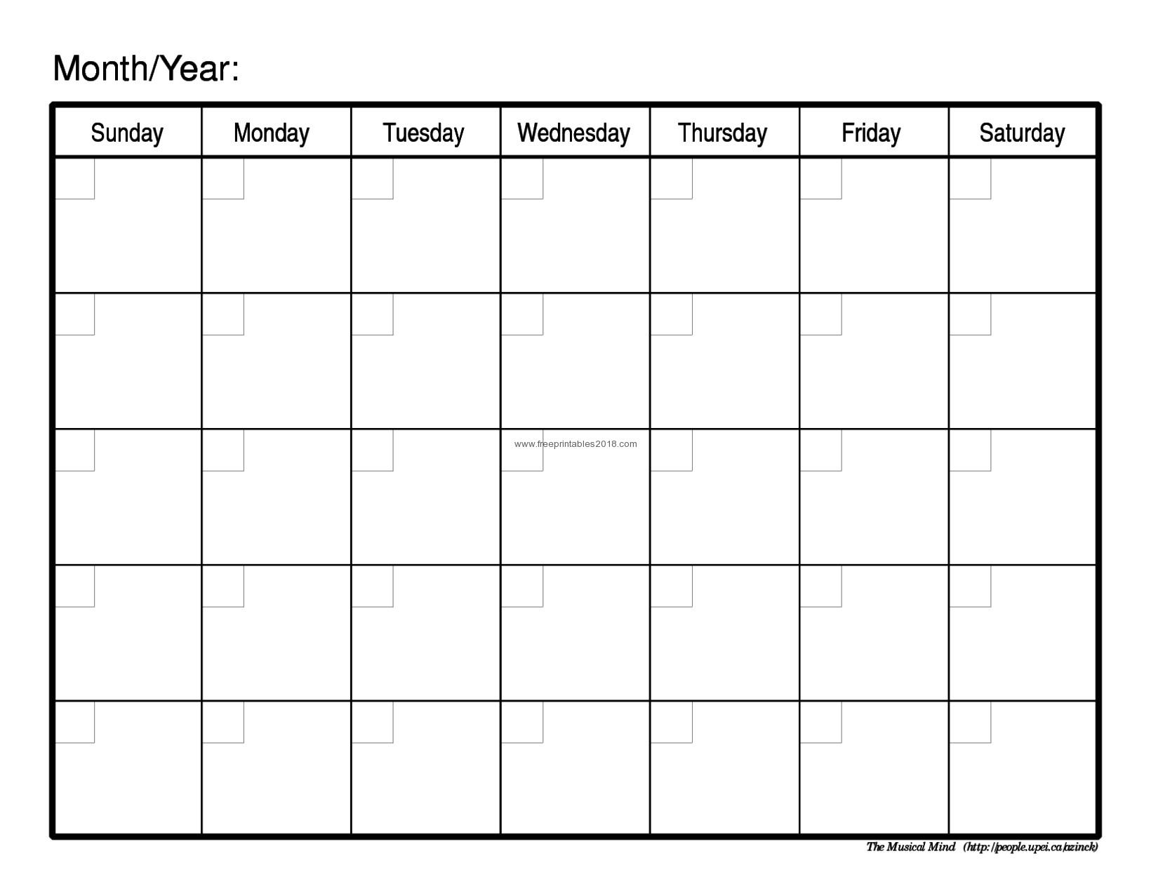 Free Printable Calendar Blank Free Printable Blank Calendar in Blank Printable Calendar By Month With Notes