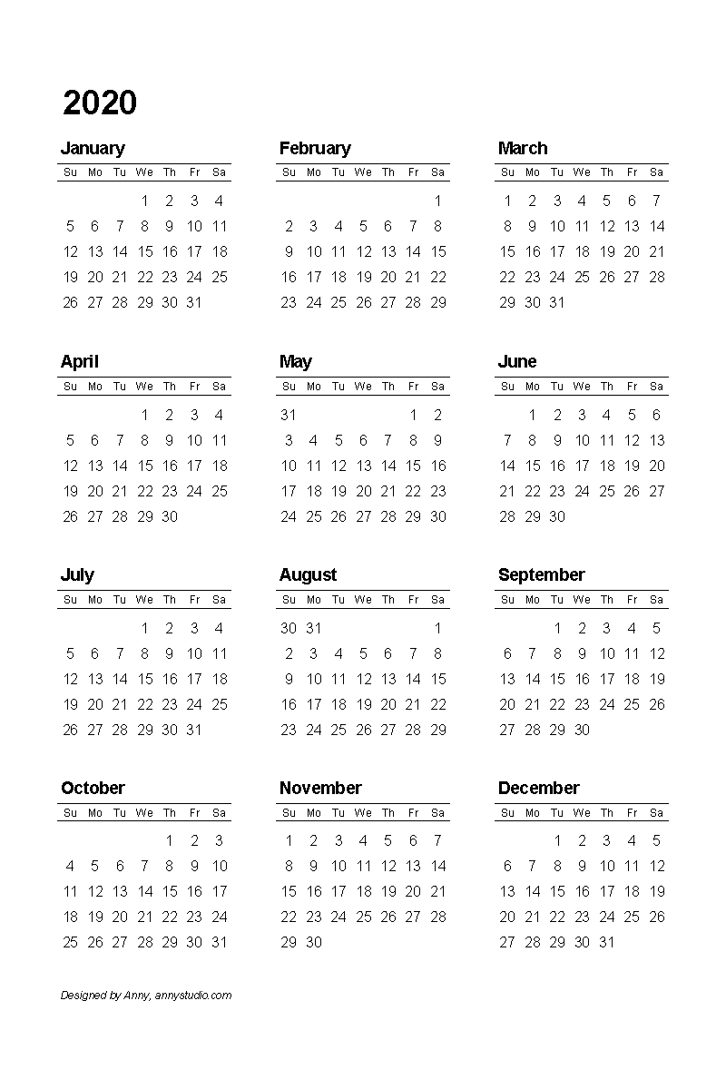 Free Printable Calendars And Planners 2019, 2020, 2021, 2022 with regard to 2020 Free Printable Calendar Large Numbers