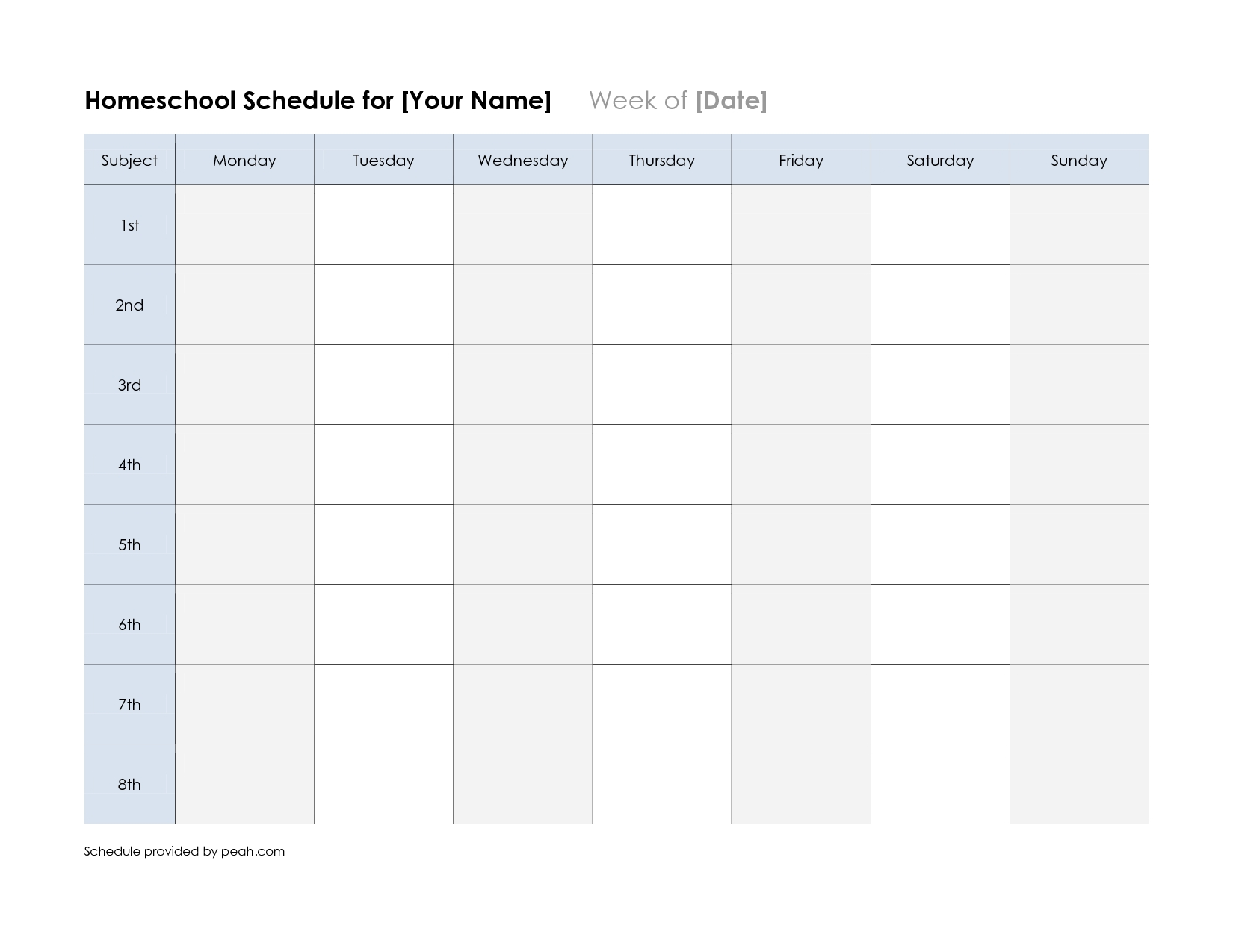 Free Printable Class Schedule Template   Printable Weekly Nfl with One Week Calendar Template Exercise