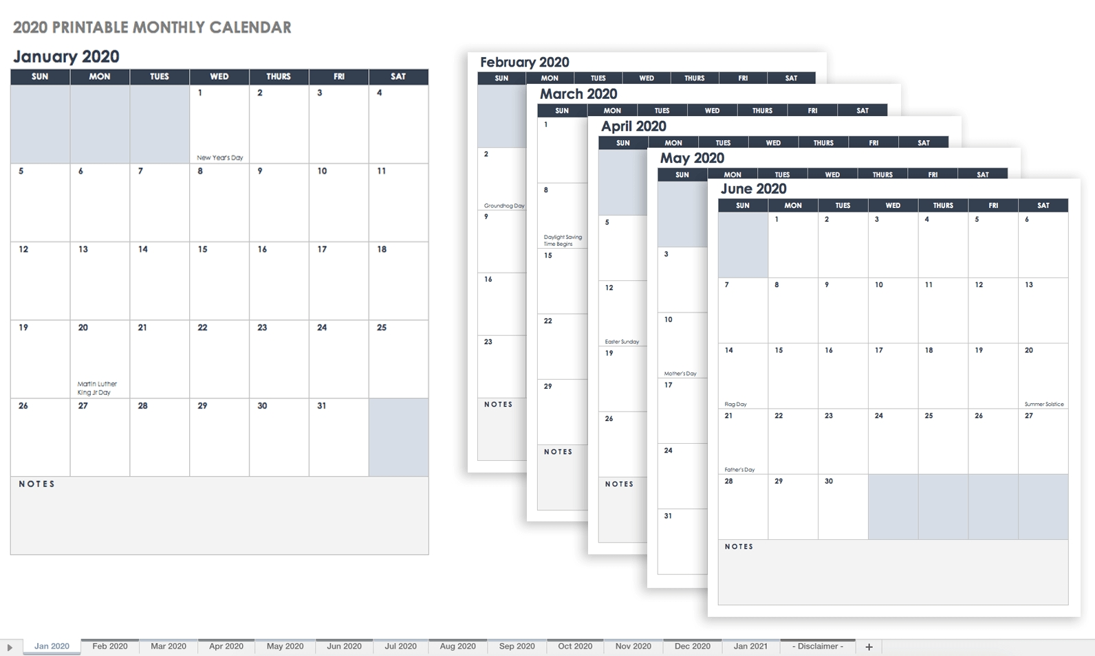 Free, Printable Excel Calendar Templates For 2019 & On | Smartsheet for Printable Year Calendar 2019 - 2020 With Space To Write