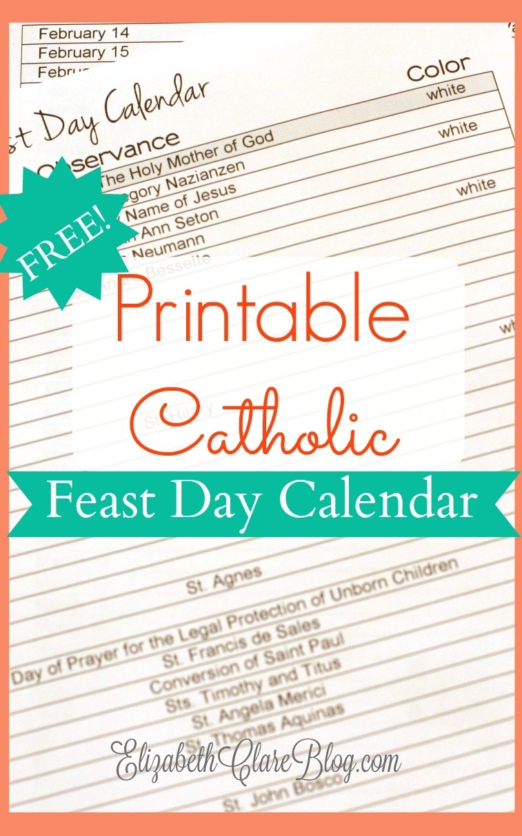 Free-Printable-Feast-Day-Calendar - Elizabeth Clare in Free Catholic Liturgical Calendar For 2020