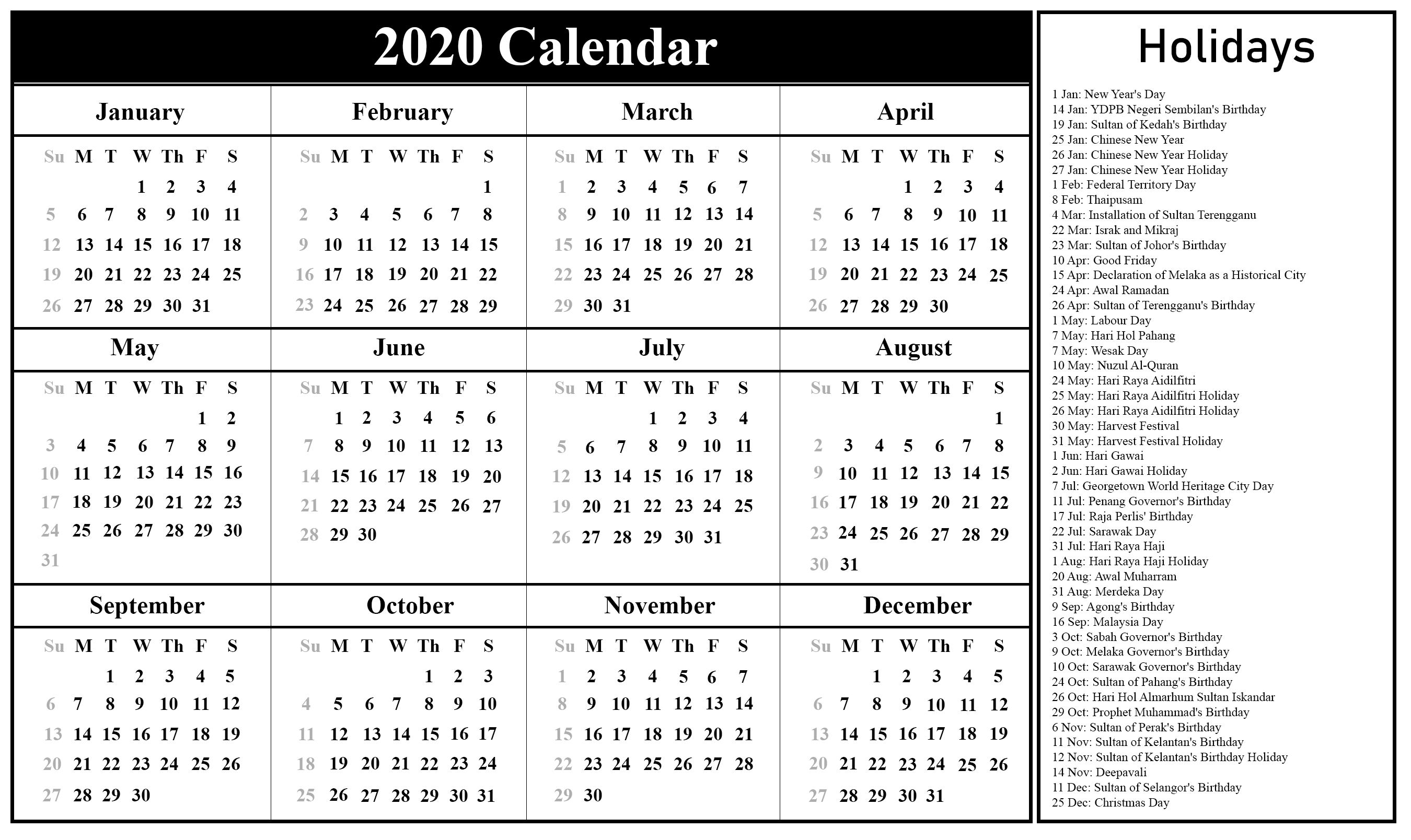 Free Printable Malaysia Calendar 2020 In Pdf, Excel & Word Format with regard to Malaysia 2020 Calendar