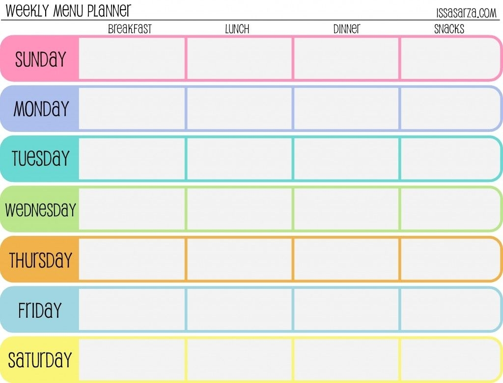 Free Printable Menu Planners - Fill In Day Of The Week Format At The within Free Printable Template For Day Of The Week Schedule