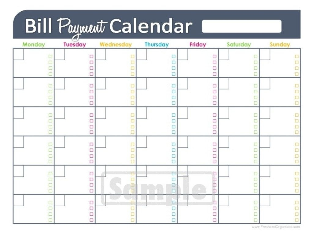 Free Printable Monthly Bill Pay Chart | Calendar Template Printable within Monthly Calendar For Paying Bills