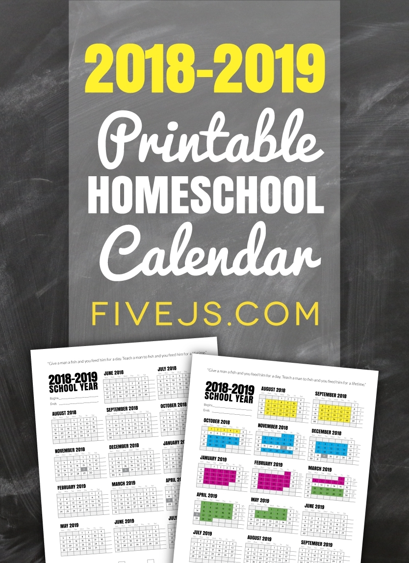 Free Printable School Calendar For 2018-2019 - Five J's Homeschool in Free Printable Homeschool Calendar 2019-2020 Year At A Glance