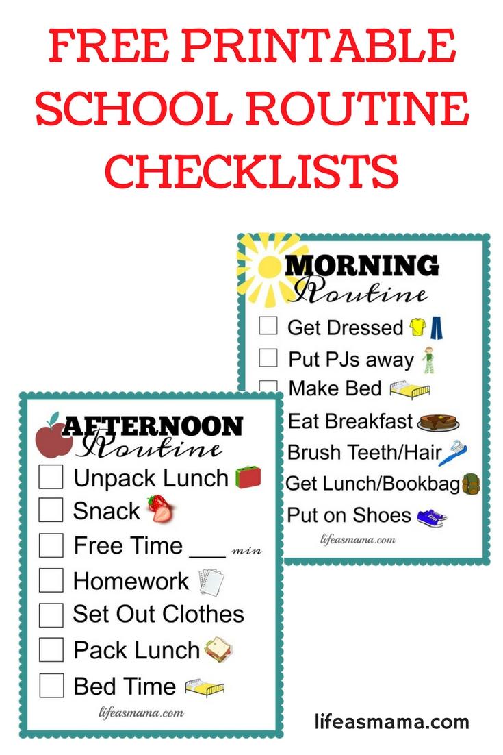 Free Printable School Routine Checklists | Printables | School for Free Printable Picture Schedules For Children