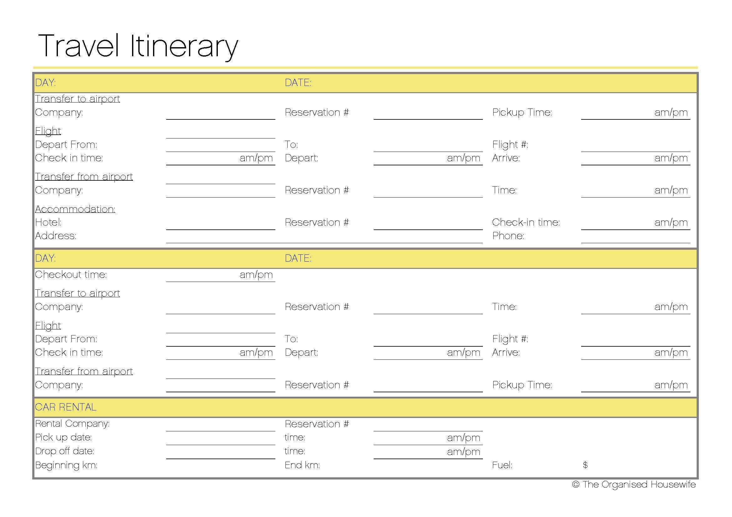 Free Printable – Travel Itinerary | Itineraries, Etc. | Travel regarding Printable Pick Up Schedule Template