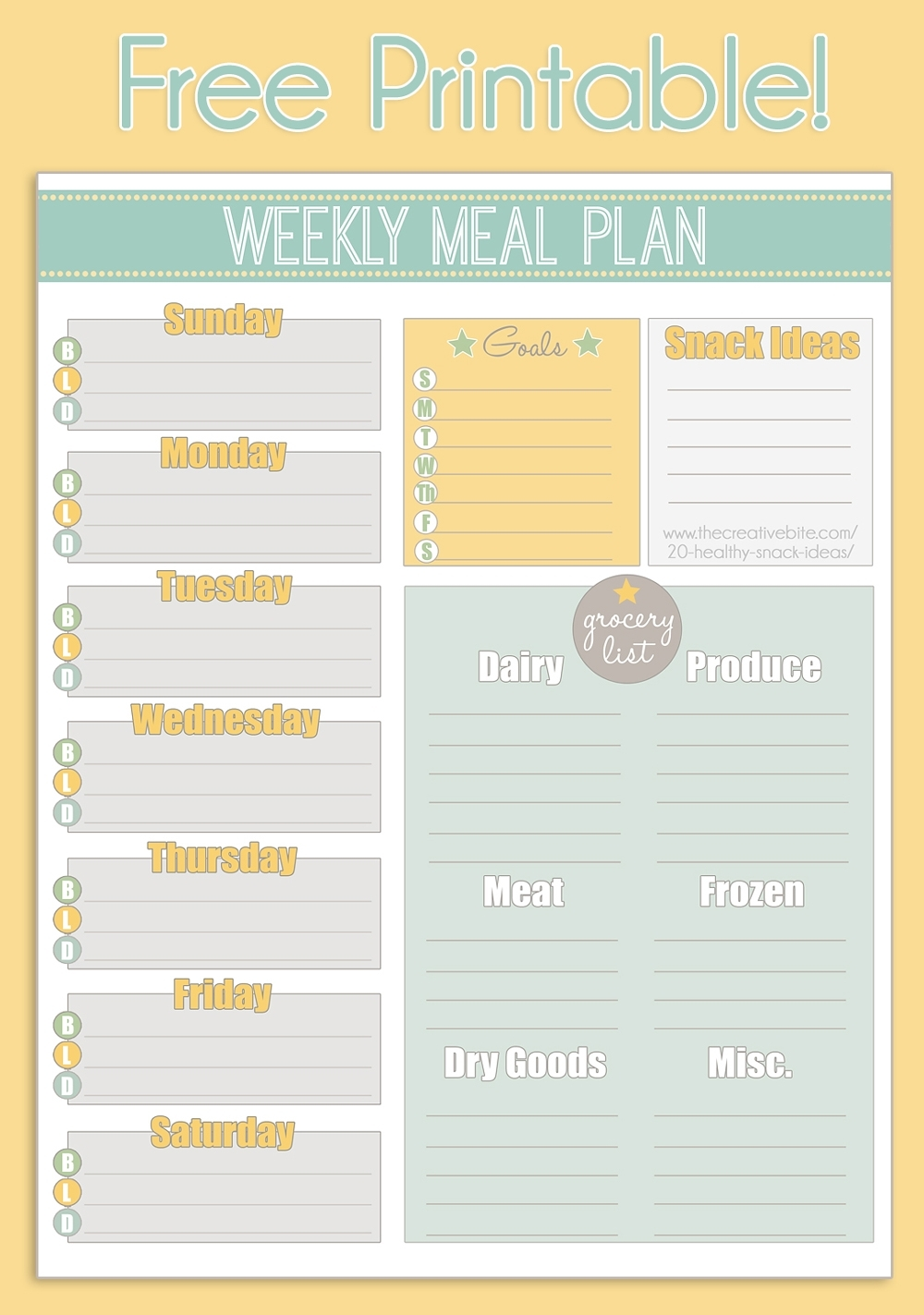 Free Printable Weekly Meal Planner + Calendar inside Free Printable Weekly Planner Calendars