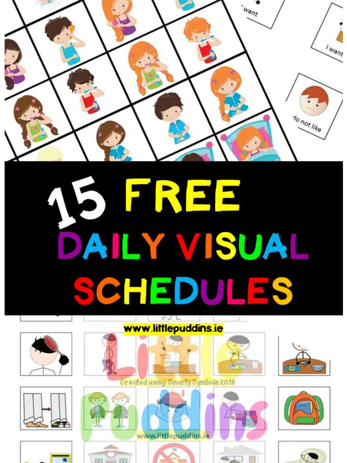 Free Visual Schedules – Little Puddins Free Printables within Free Printable Picture Schedules For Children