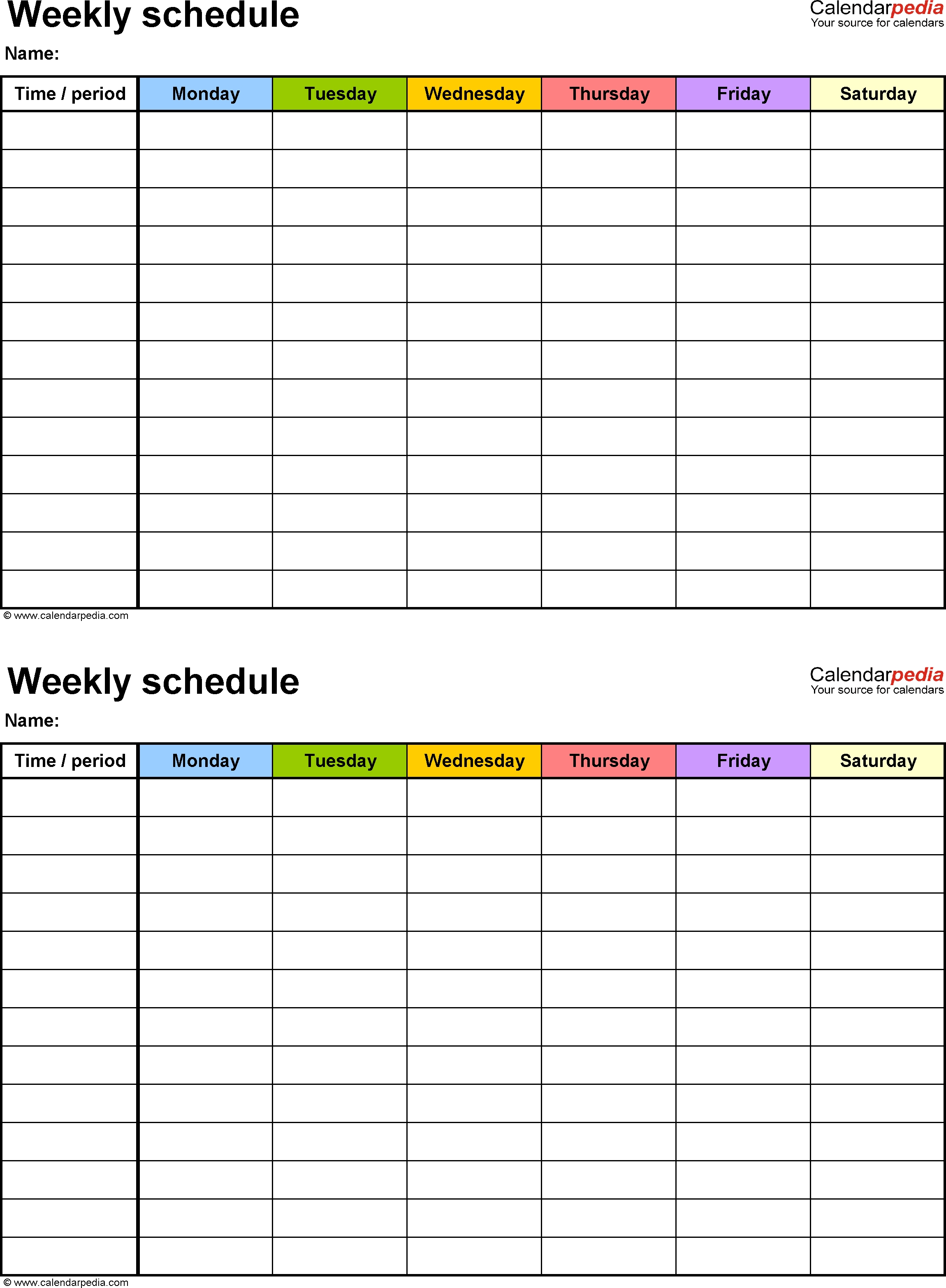 Free Weekly Schedule Templates For Excel - 18 Templates for Free Printable Template For Day Of The Week Schedule