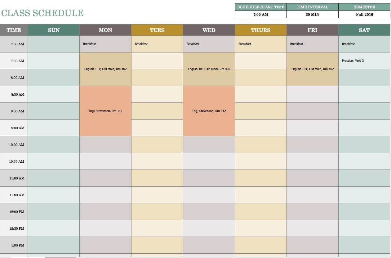 Free Weekly Schedule Templates For Excel - Smartsheet for One Week Calendar Template Exercise