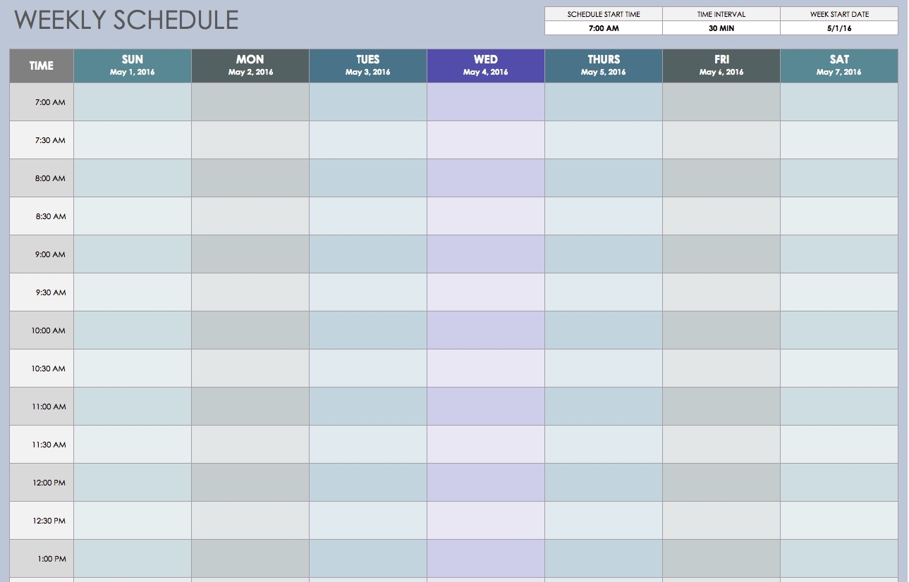 Free Weekly Schedule Templates For Excel - Smartsheet with One Week Calendar Template Exercise