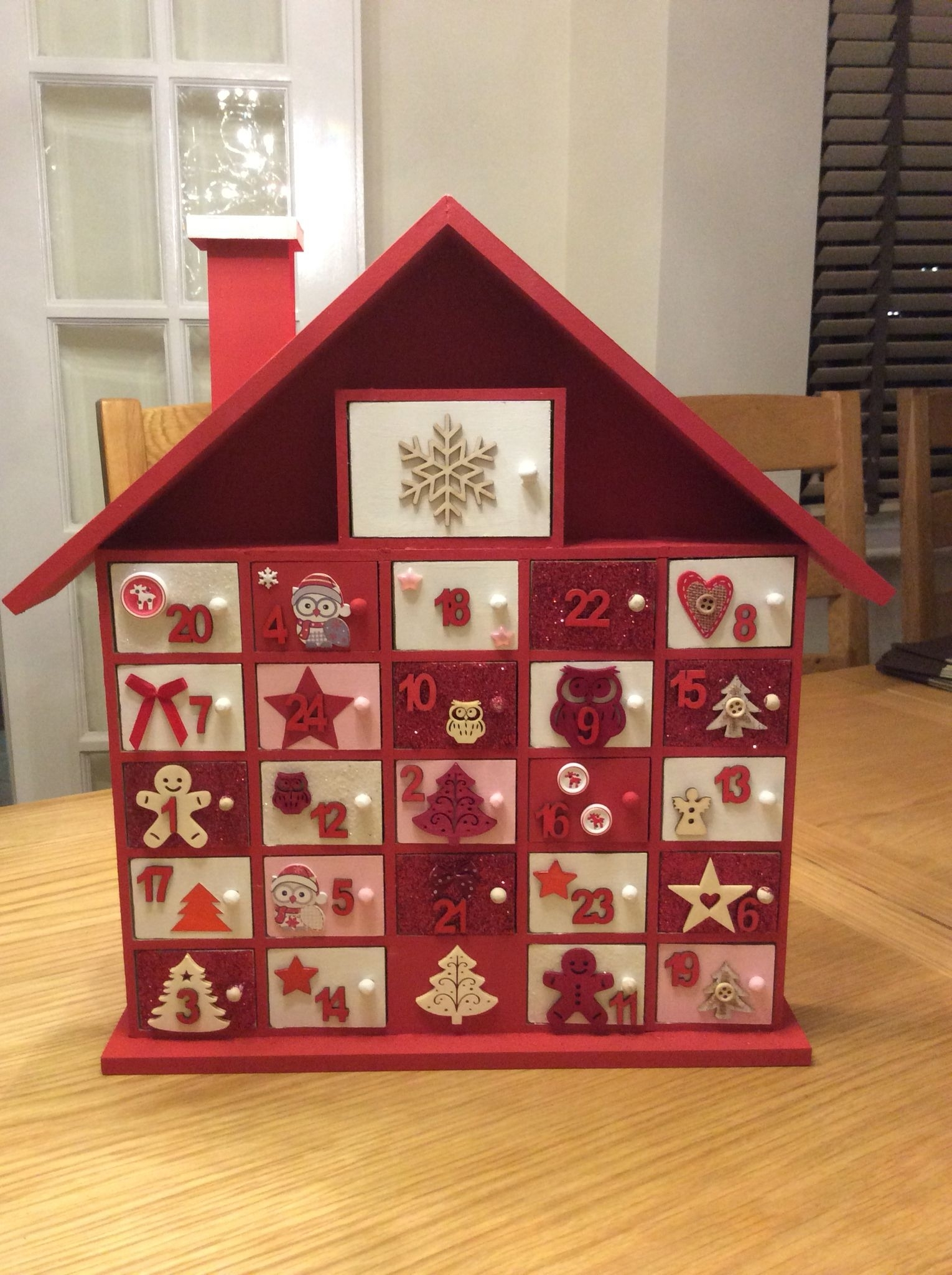 Hand Decorated Advent Calender Painted And Embellishments Added To with Wooden Advent Calendar With Lights And Boxes
