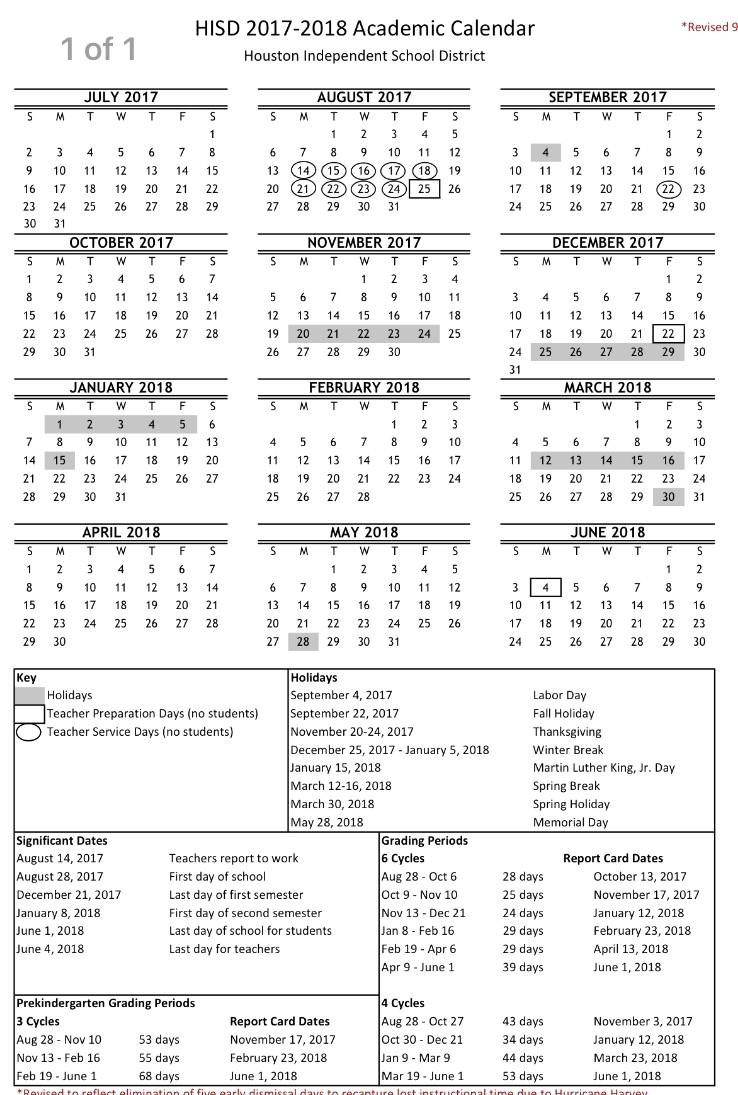 Hisd Calendar 2018   Jcreview inside 2019 2020 Calendar Unm