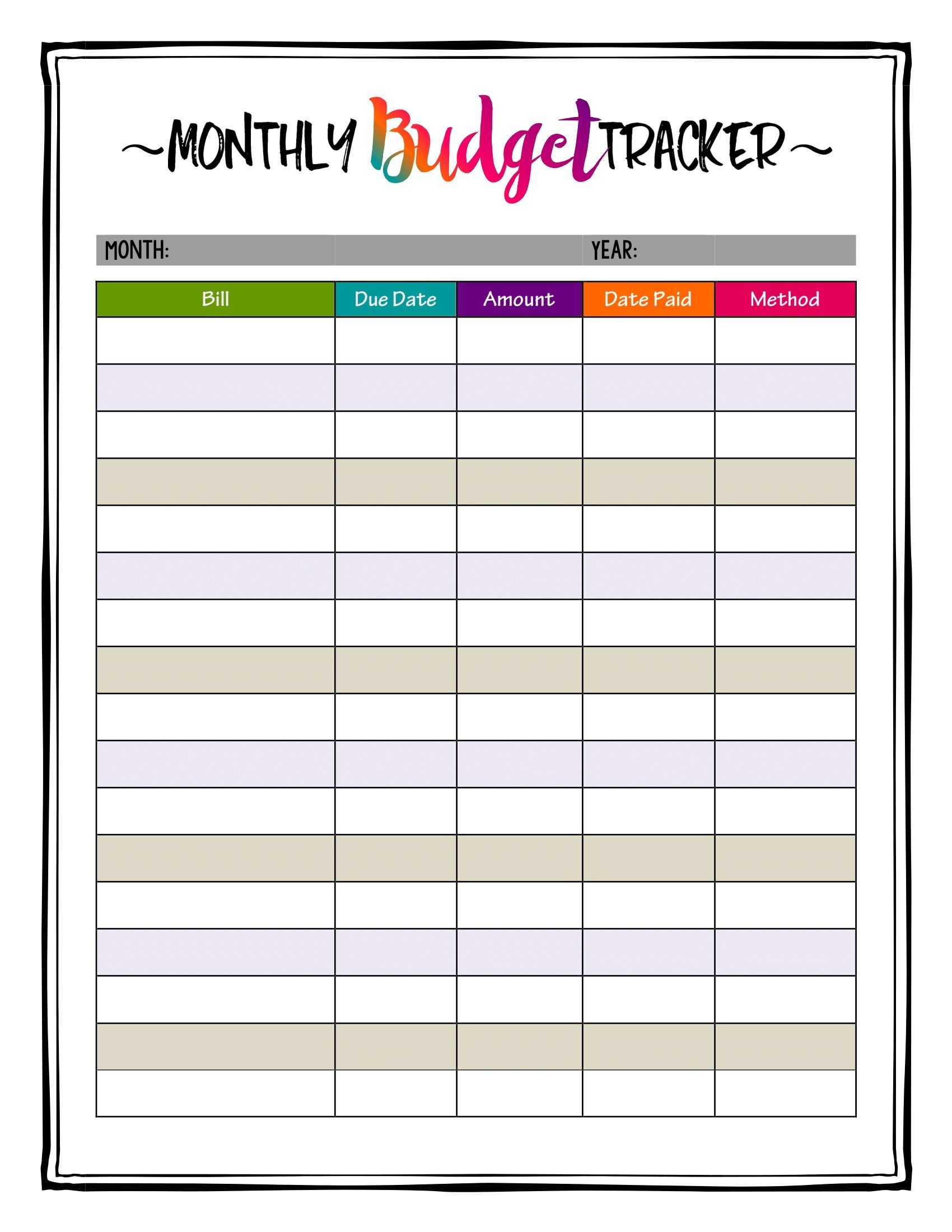 How To Organize Bills! Super Bright Budget Tracker Makes Keeping A for Printable Bill Payment Month Year