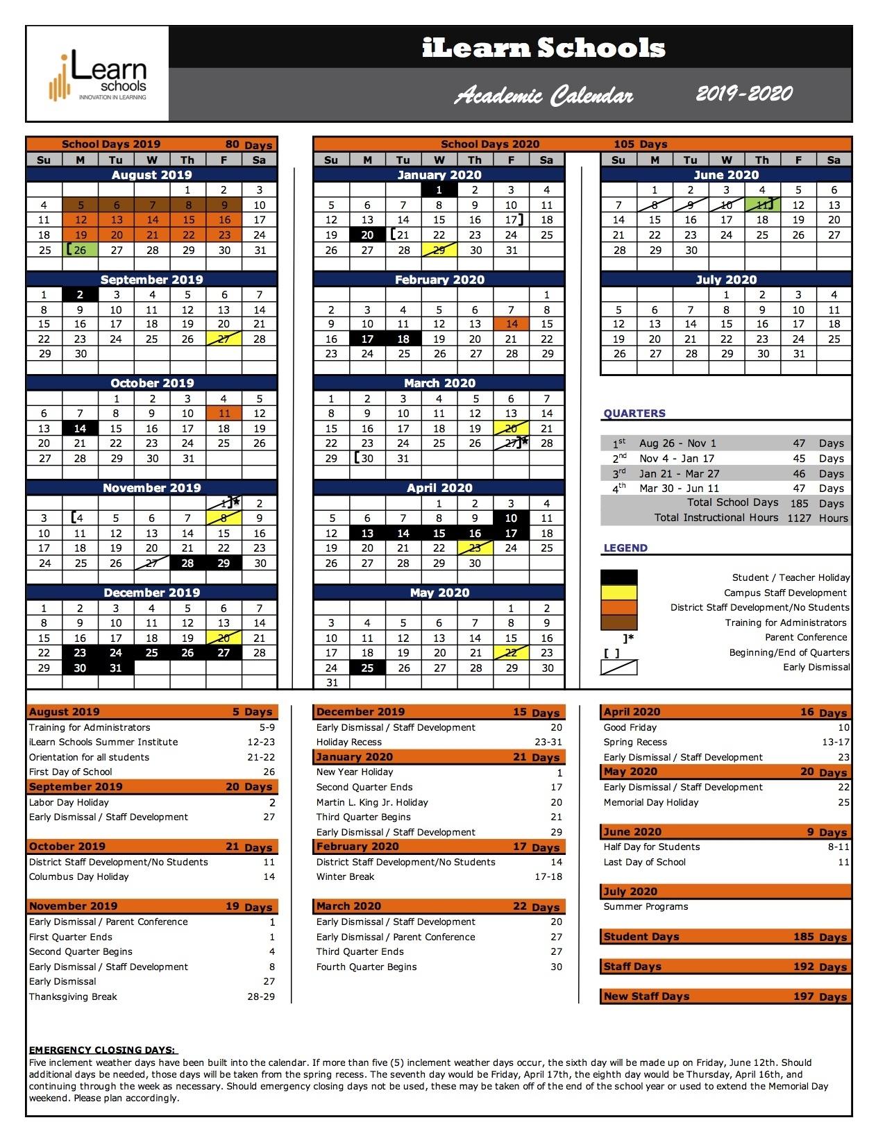 Ilearn Schools 2019-2020 Academic Calendar – Ilearn Schools inside U Of R Calendar 2019-2020