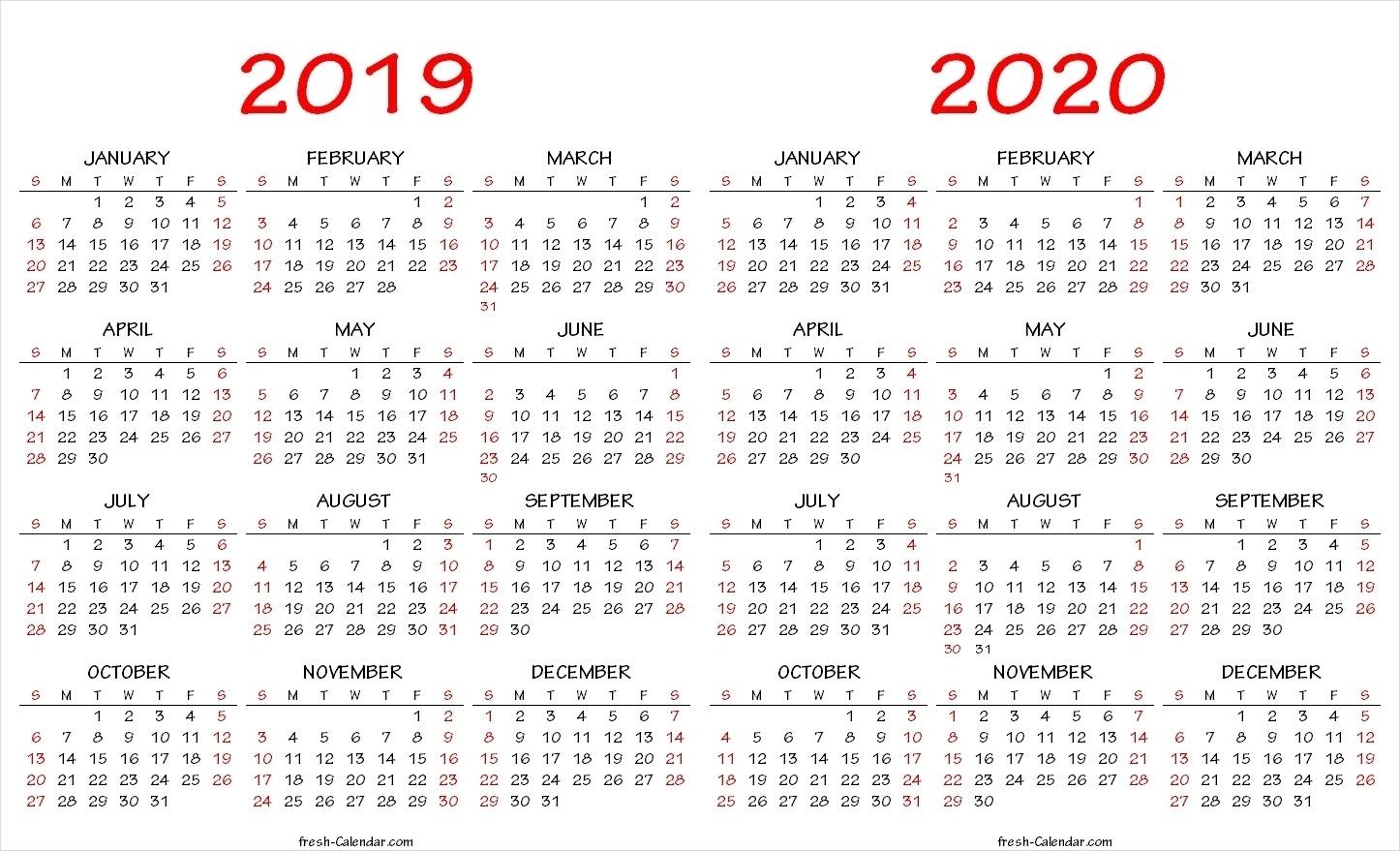 Impressive Free Printable Yearly Calendar 2020 • Printable Blank with Year-Long Calendar 2020 Printable