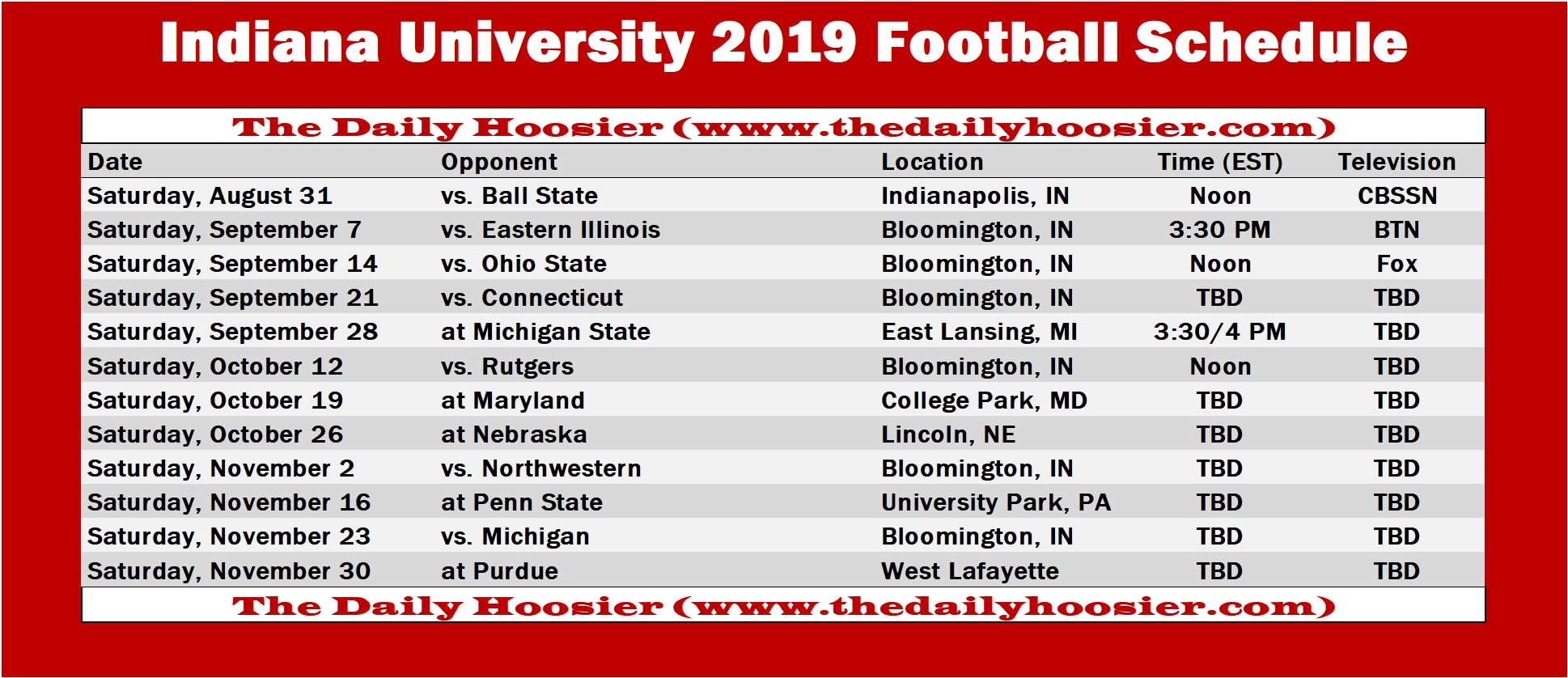 Indiana Football: The 2019 Schedule | Printable Version – The Daily intended for 2019 - 2020 Nfl Schedule Printable