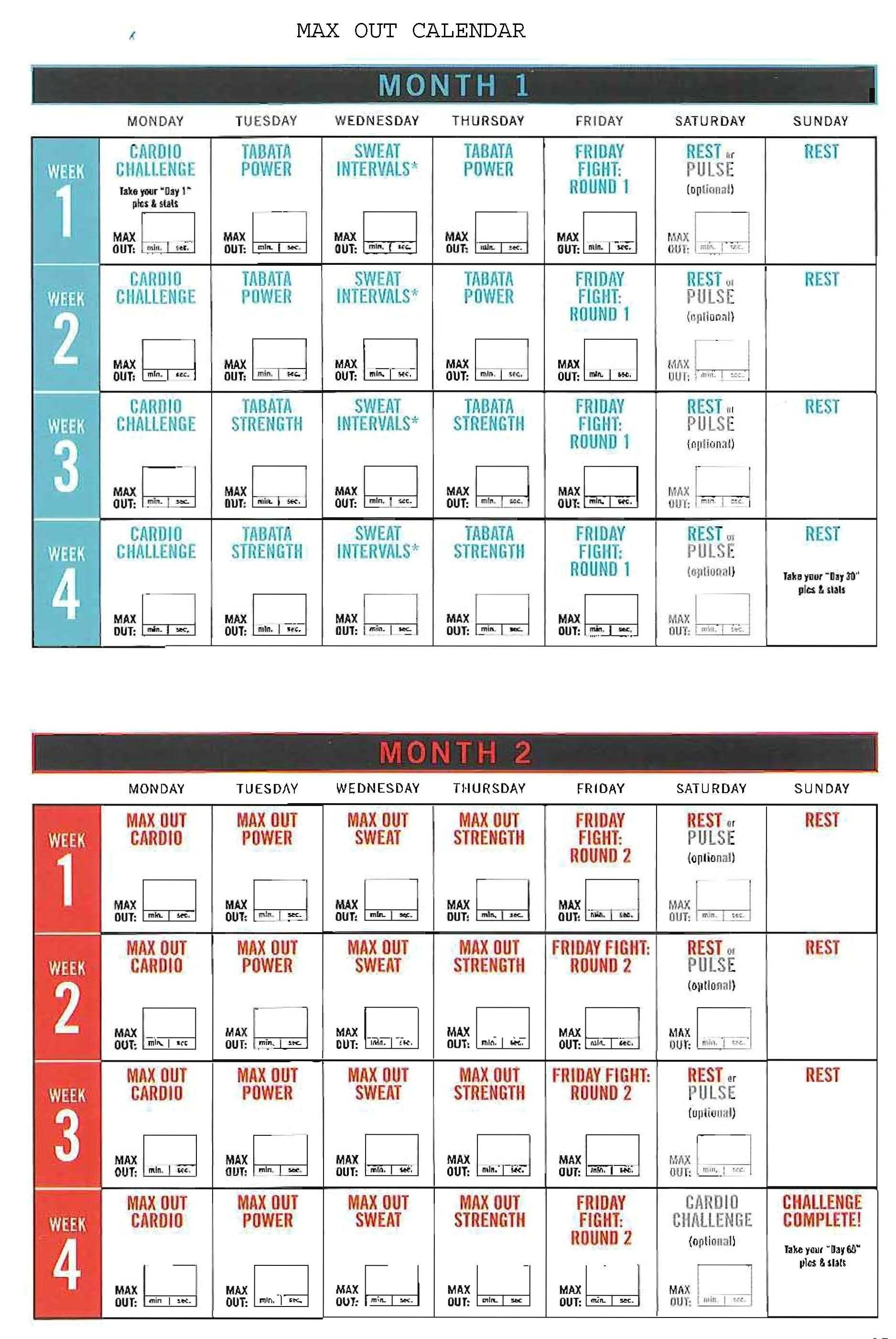 Insanity Max Out Calendar! Hit Tha Floor - Starting 12/15/14 *if You in Shaun T Insane Abs Calendar Schedule