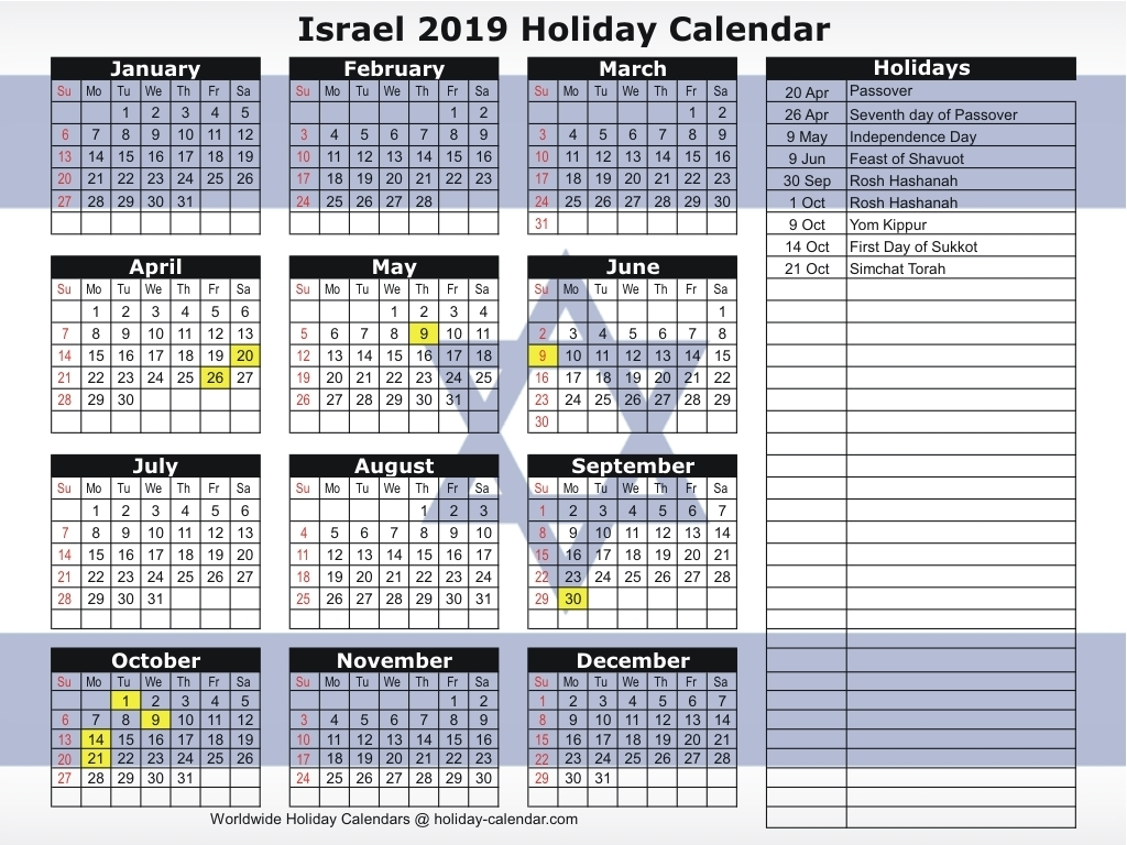 Israel 2019 / 2020 Holiday Calendar for Ewish Calendar 2019 - 2020