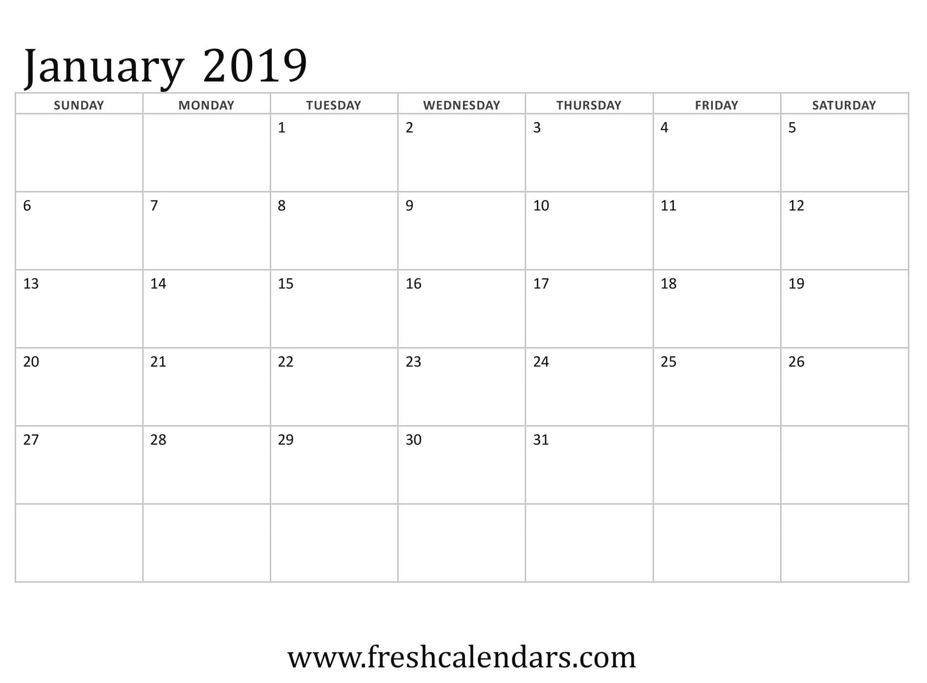January 2019 Calendar Printable - Fresh Calendars with regard to Free Printable Calendars 2020 Waterproof