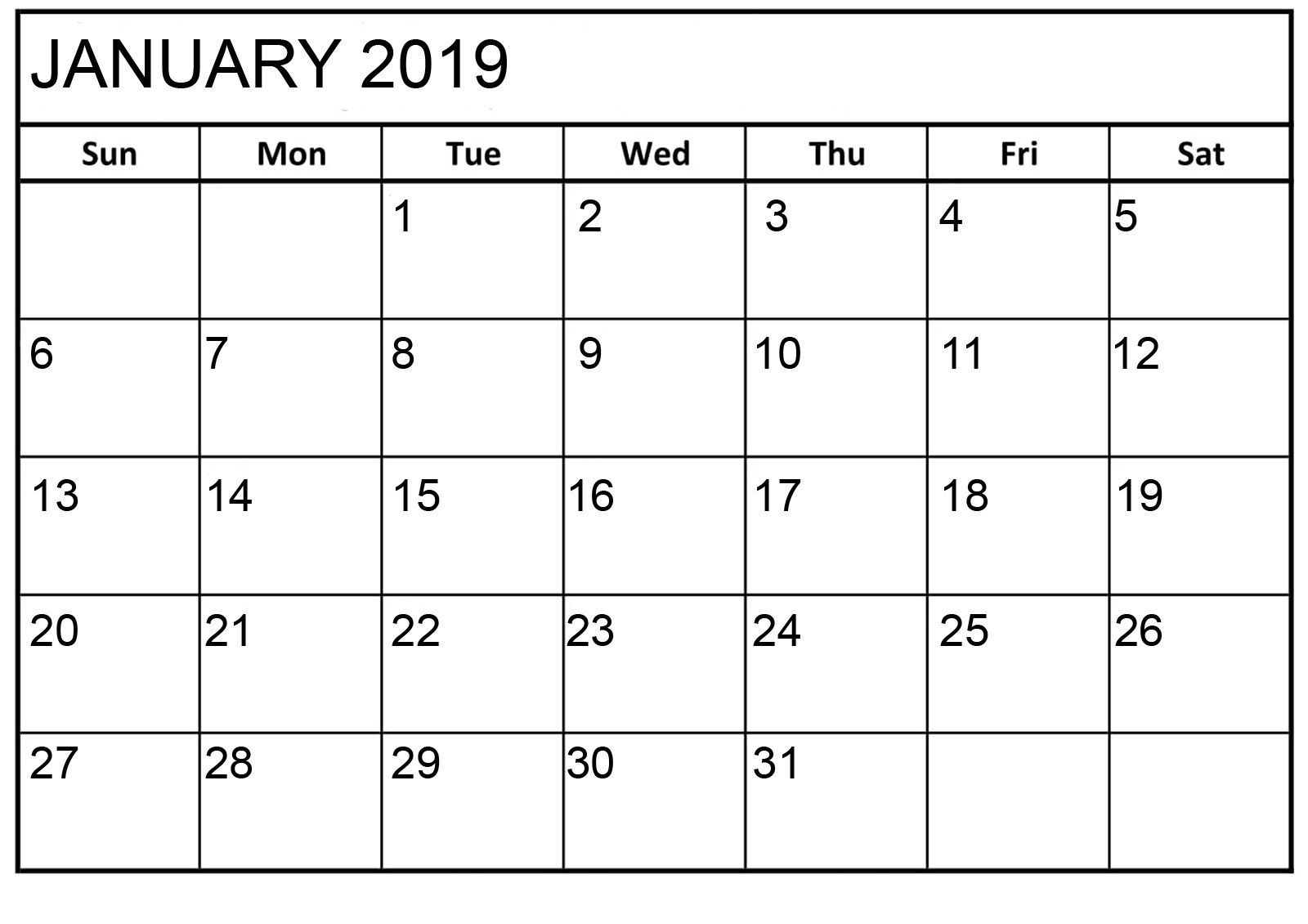 January 2019 Calendar Printable Html | January 2019 Calendar regarding Printable Calendar Monthly 2019-2020 Free 11X17 Large Boxes