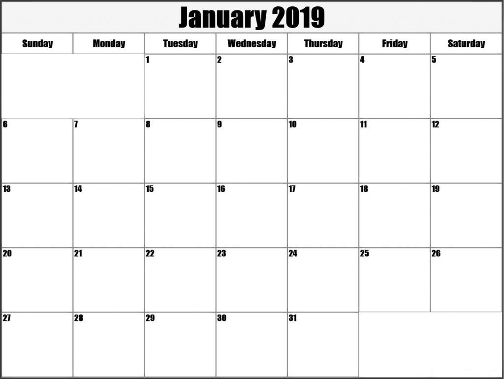 January 2019 Printable Calendar Templates Free Printable Calendar intended for Free Blank Calendars By Month