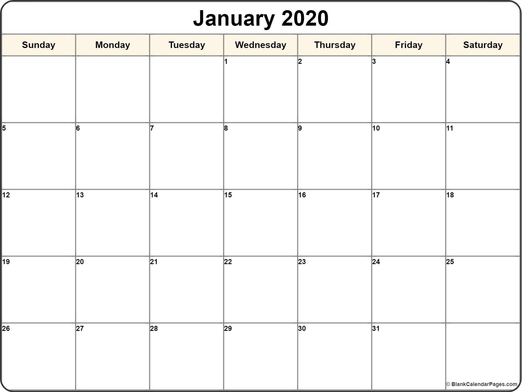 January 2020 Calendar | Free Printable Monthly Calendars inside Imom 2020 Calendar