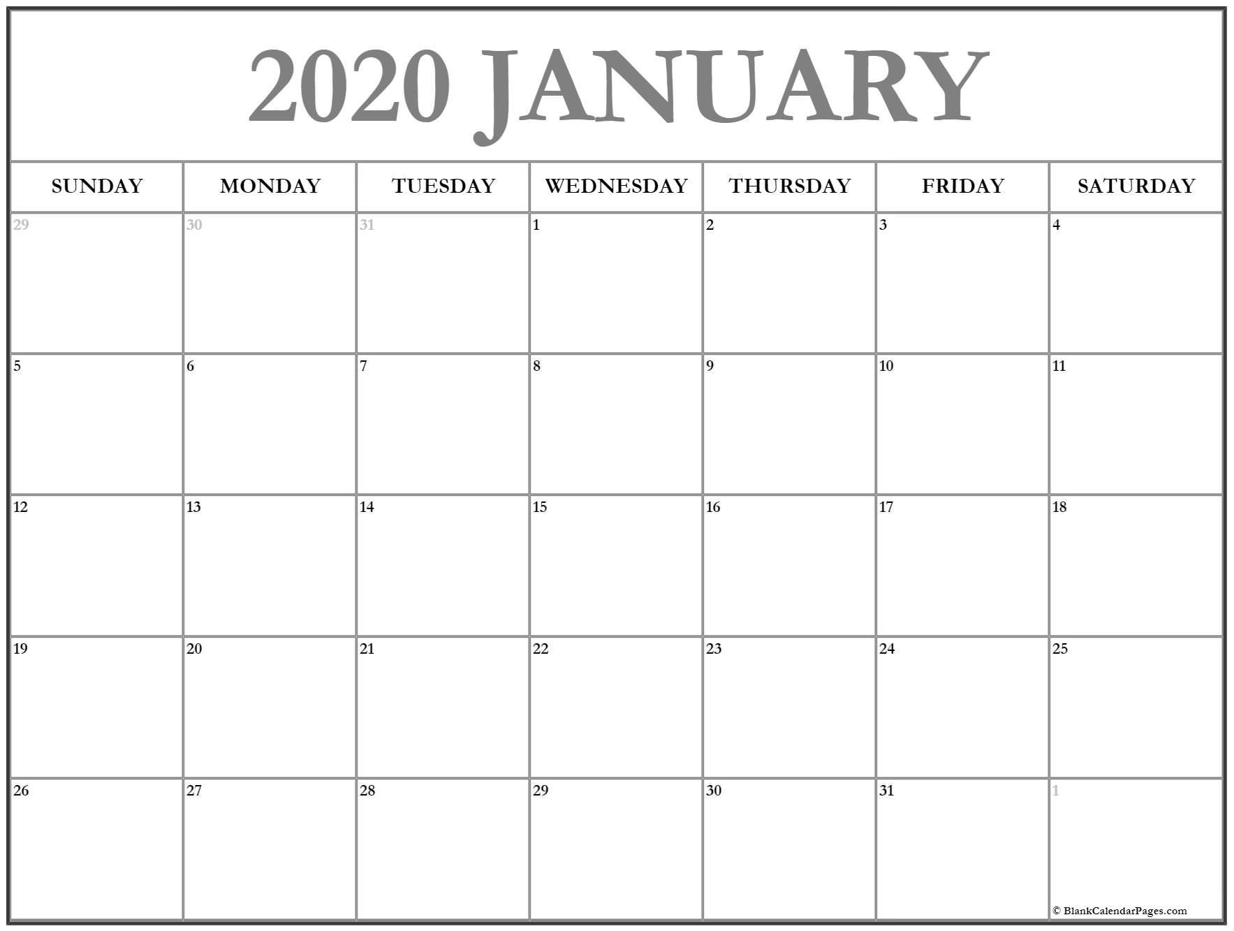 January 2020 Calendar | Free Printable Monthly Calendars intended for Free Printable 2020 Calendar With Space To Write