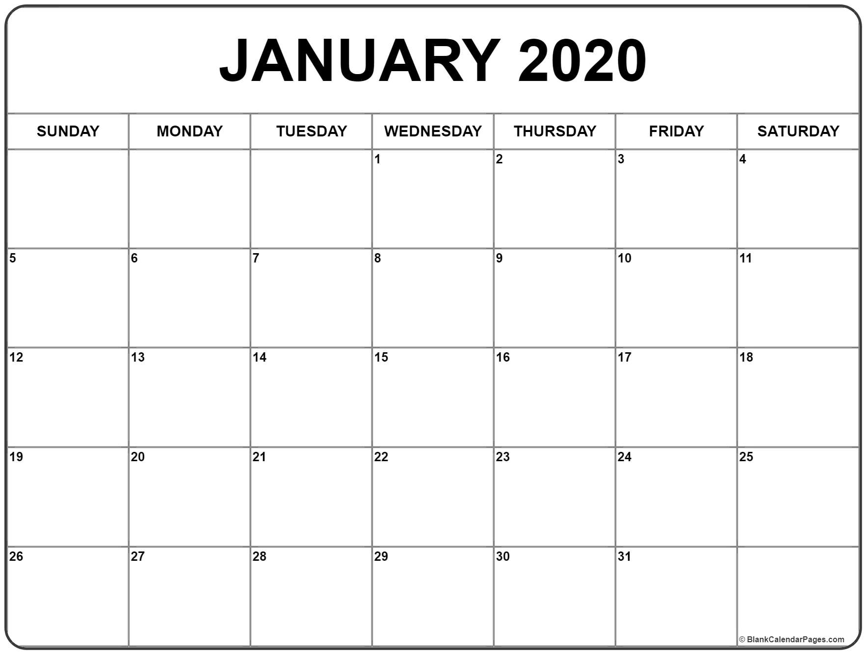 January 2020 Calendar | Free Printable Monthly Calendars intended for Large Box Printable Calendar 2020 Google