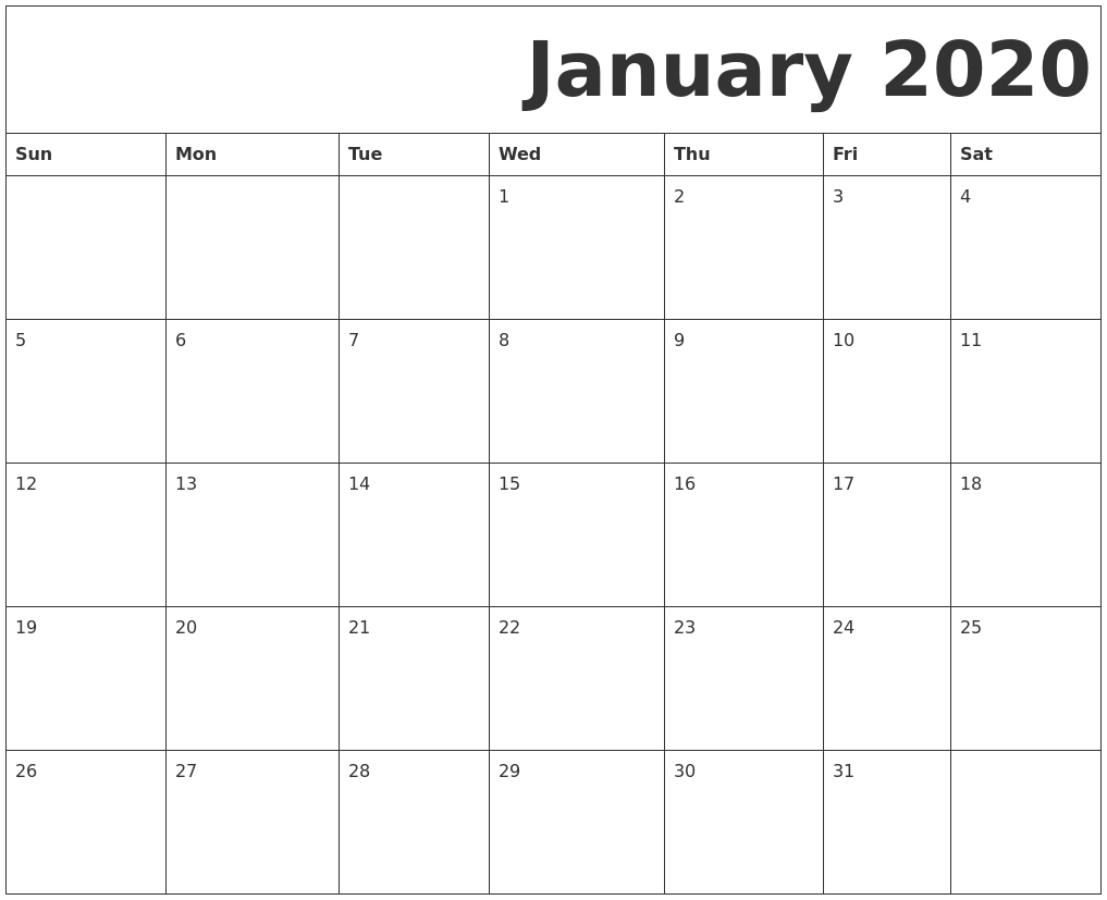 January 2020 Free Printable Calendar in Free 2020 Printable Calendars Without Downloading
