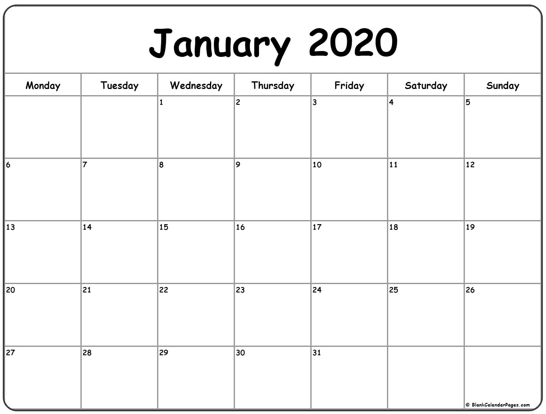 January 2020 Monday Calendar | Monday To Sunday with regard to 2020 Calendar Monday To Sunday