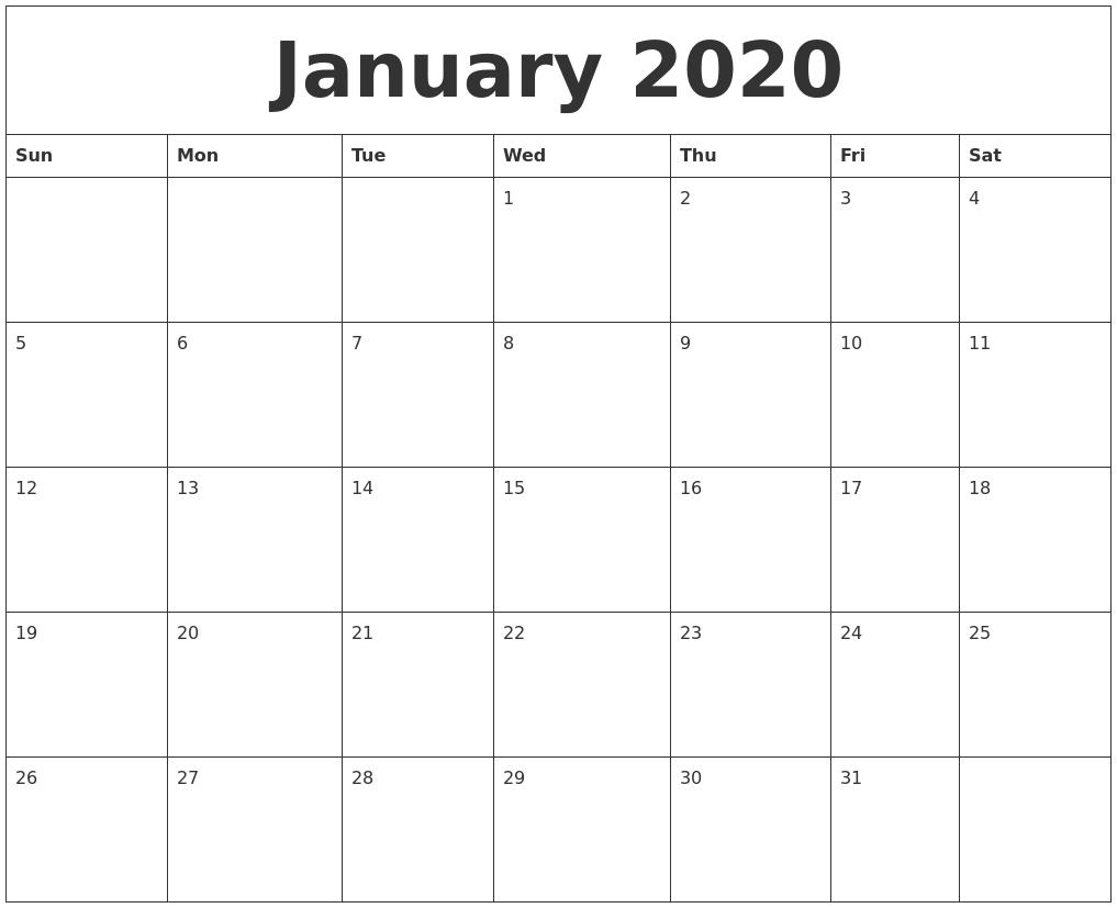 January 2020 Printable Calander with 2020Printable Monday Through Sunday Calendars