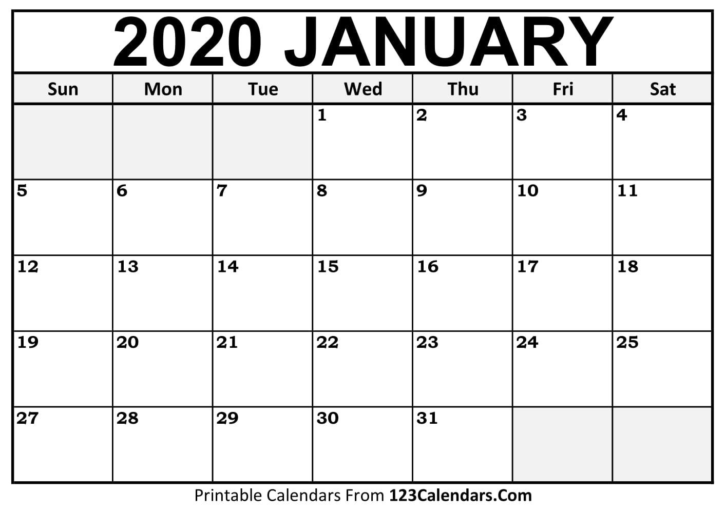 January 2020 Printable Calendar | 123Calendars in 2020 Fill In Calendar