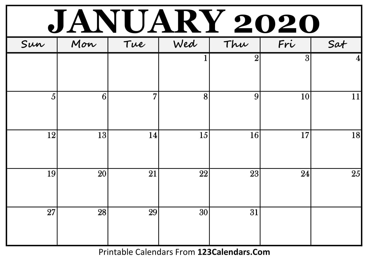 January 2020 Printable Calendar   123Calendars inside Printable Calendar For 2020 To Type On