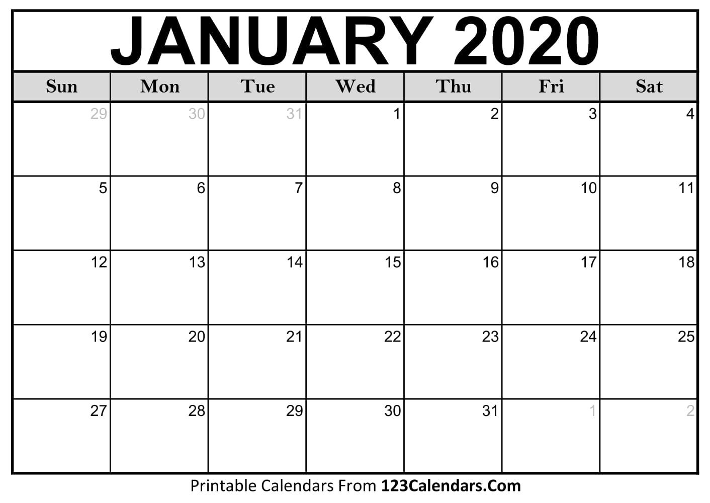 January 2020 Printable Calendar | 123Calendars throughout Blank 2020 Calendars To Edit